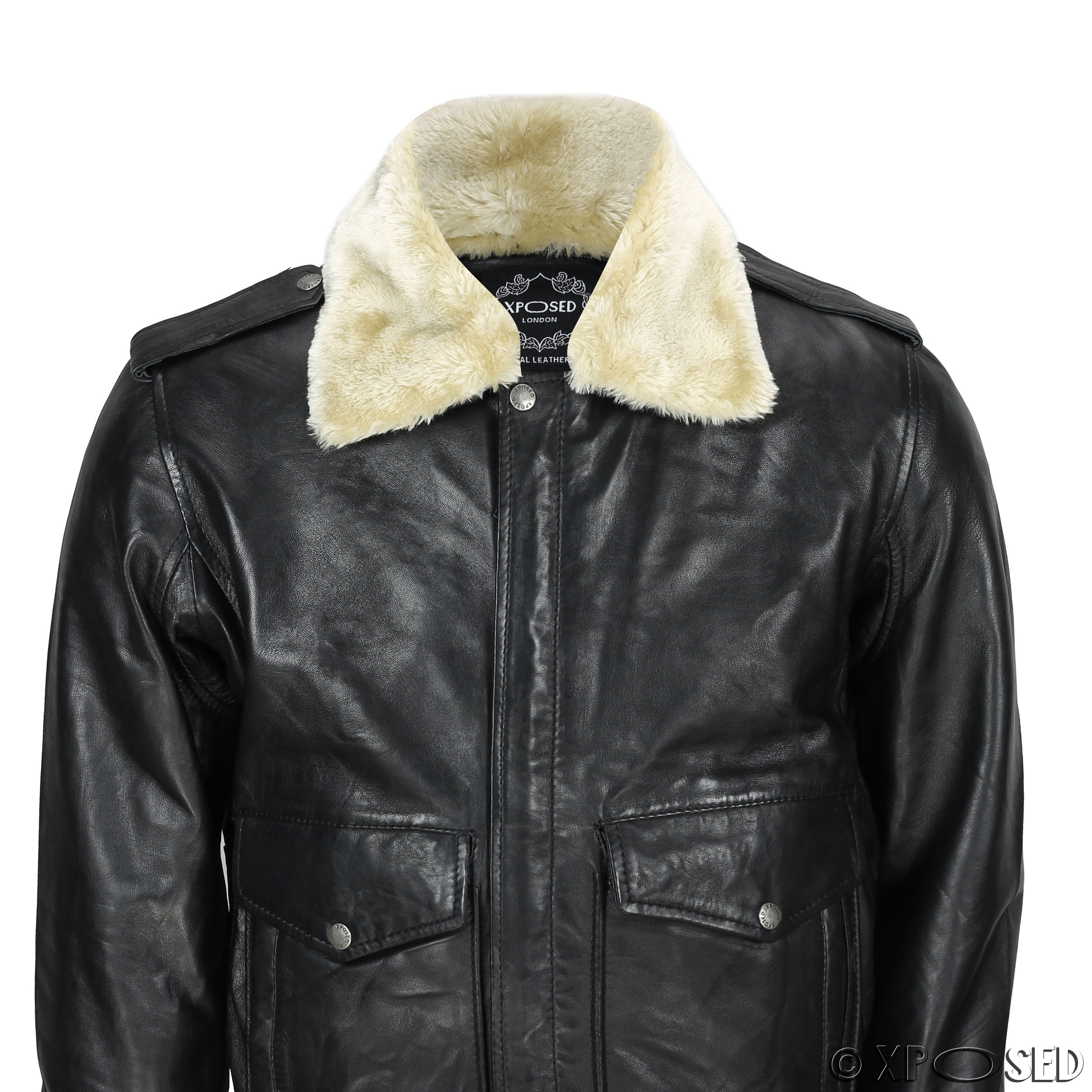 New Mens Real Leather US Air Pilot Bomber Jacket Removable ...