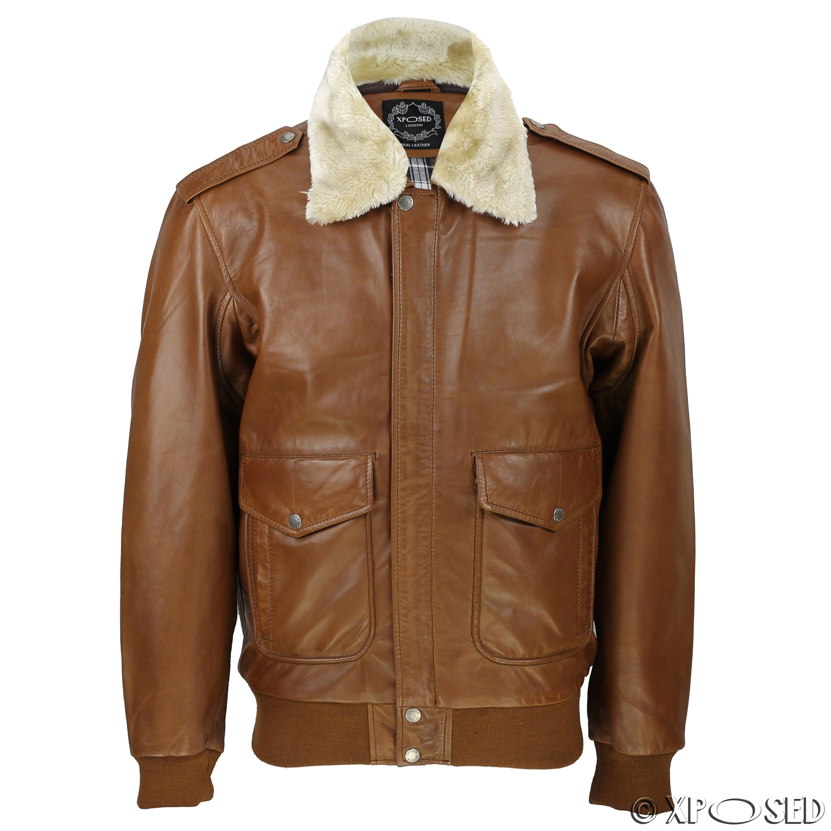 Mens Real Leather Tan Brown Vintage Pilot Removable Fur Collar ...