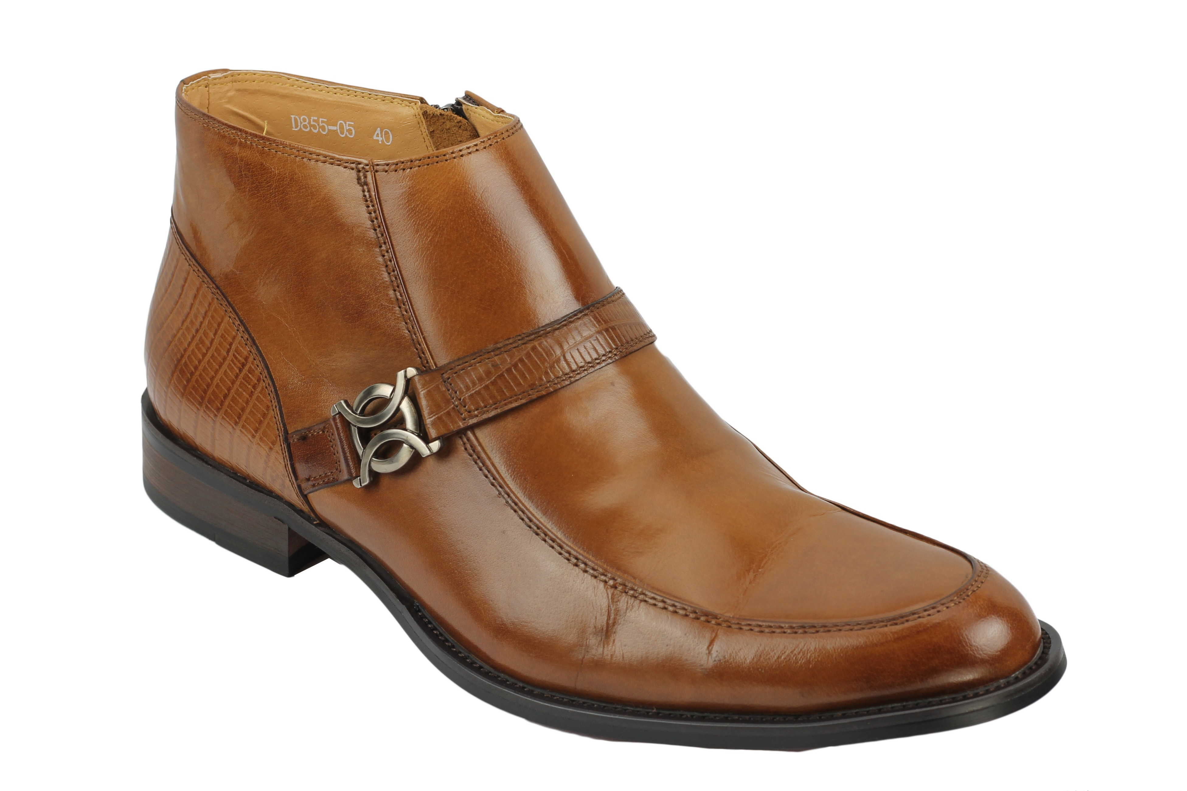 mens real leather ankle boots zip formal casual retro