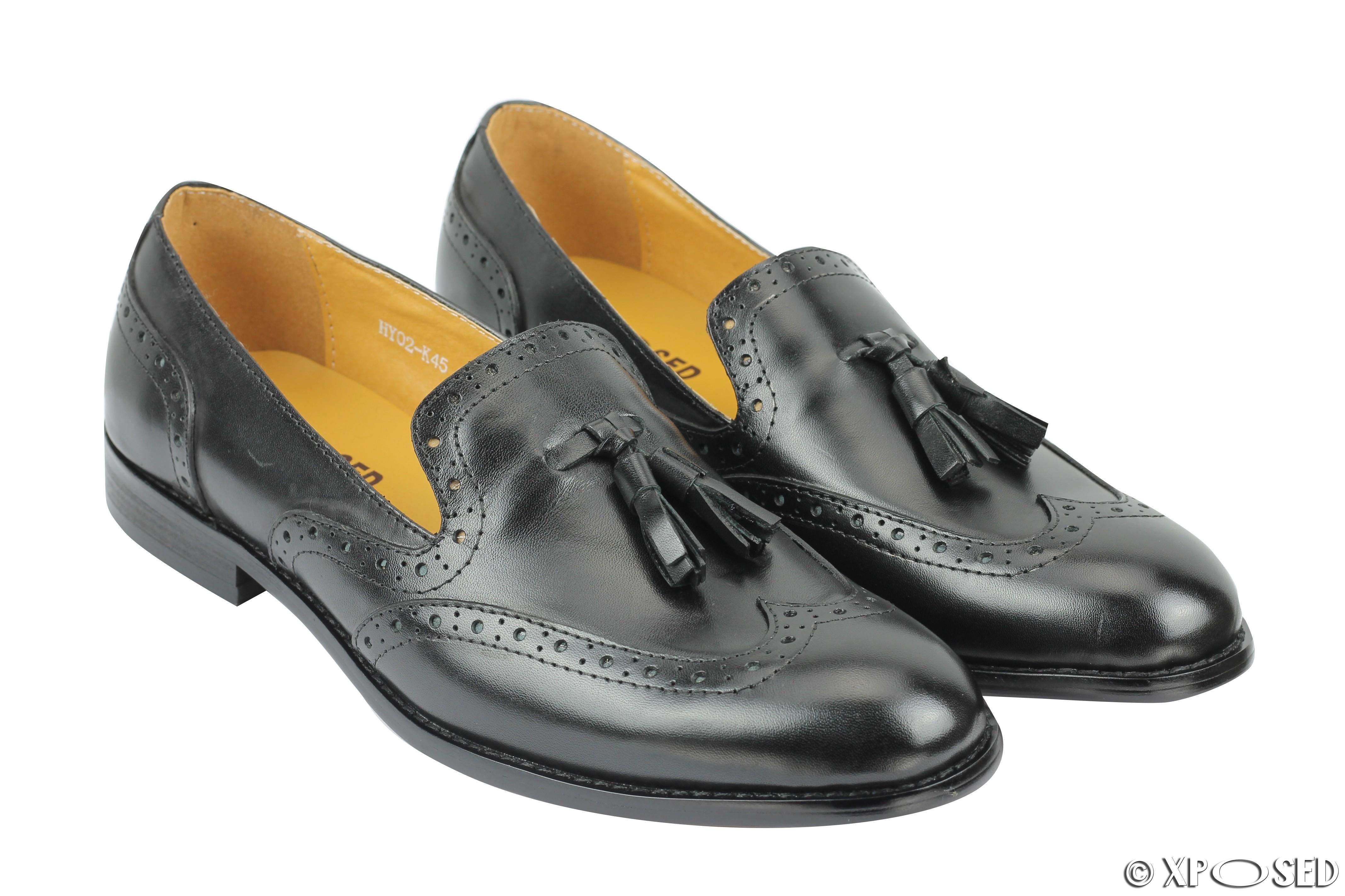 mens 1920s vintage real leather tassel loafers slip on