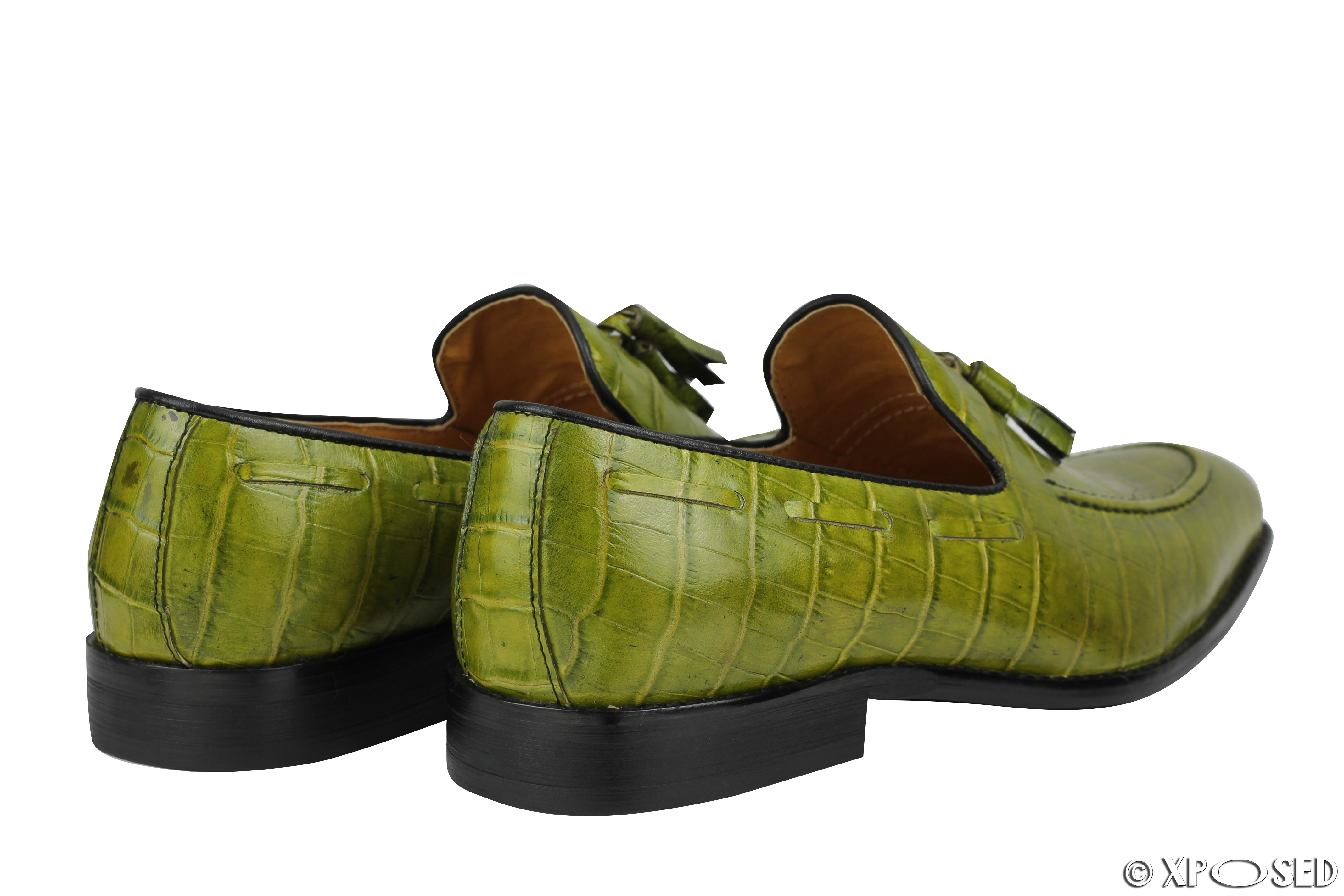mens crocodile print shiny real leather tassel loafers
