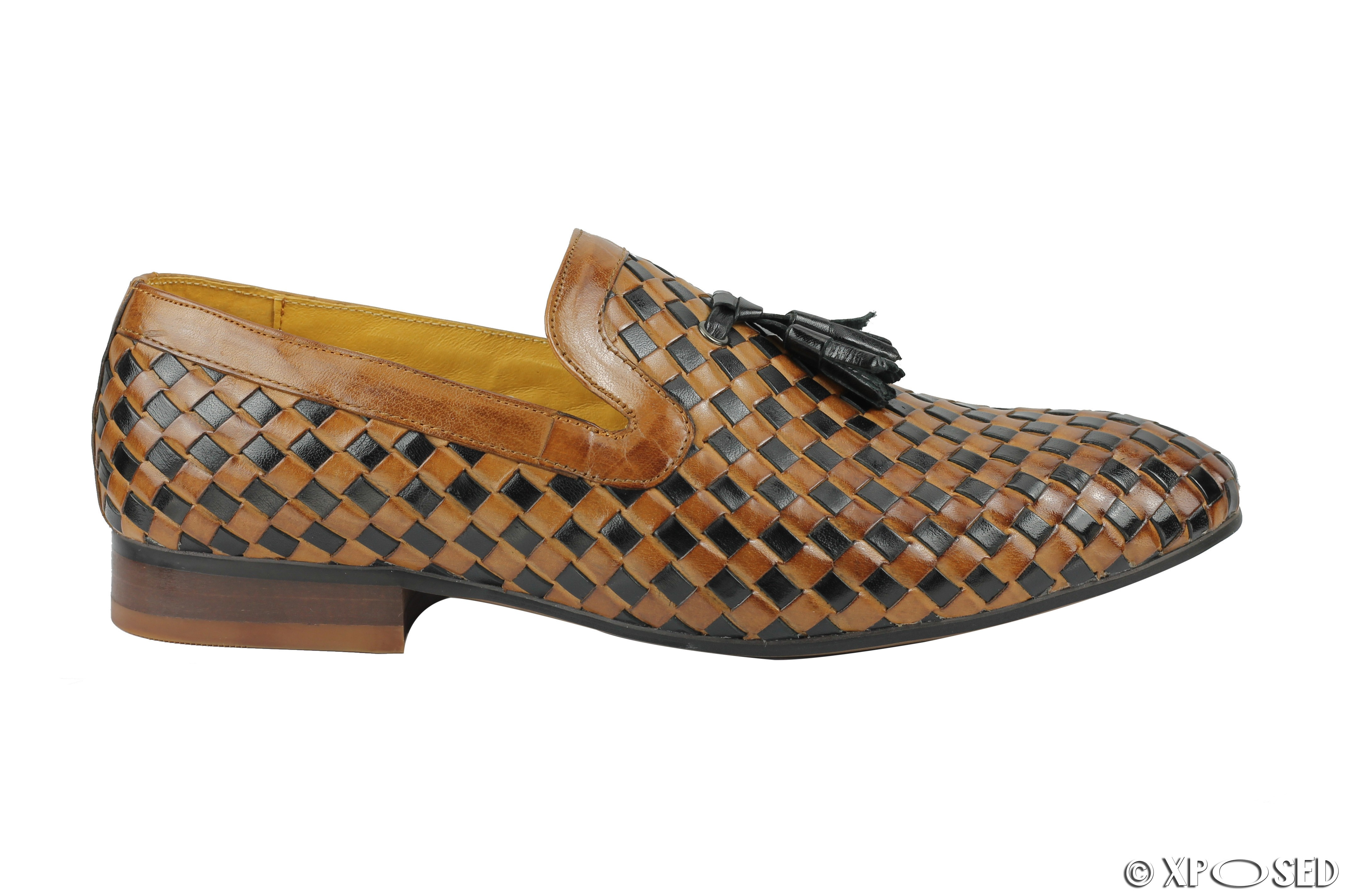 Mens Brown Woven Slip On Shoes
