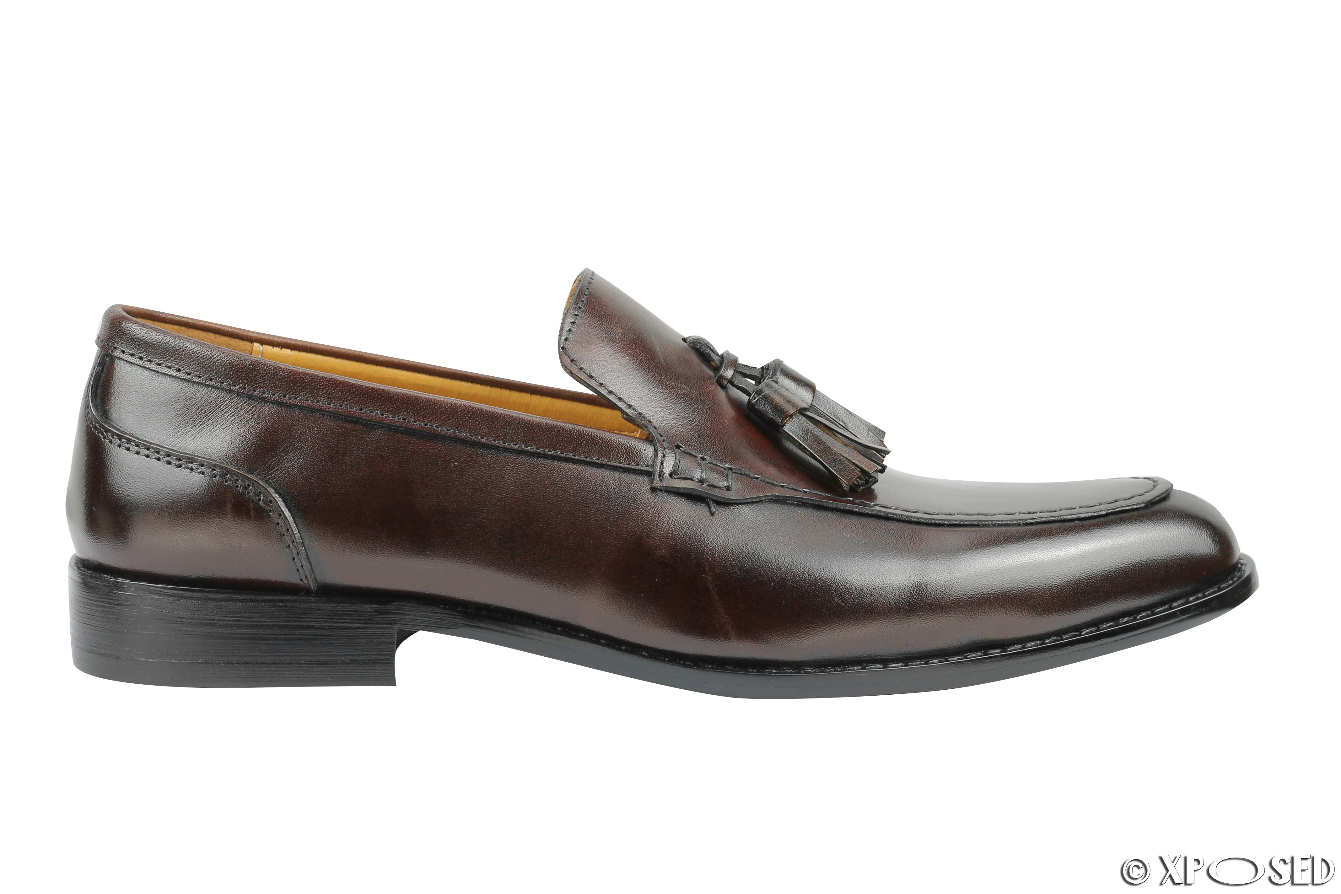 mens real leather slip on tassel loafers retro smart
