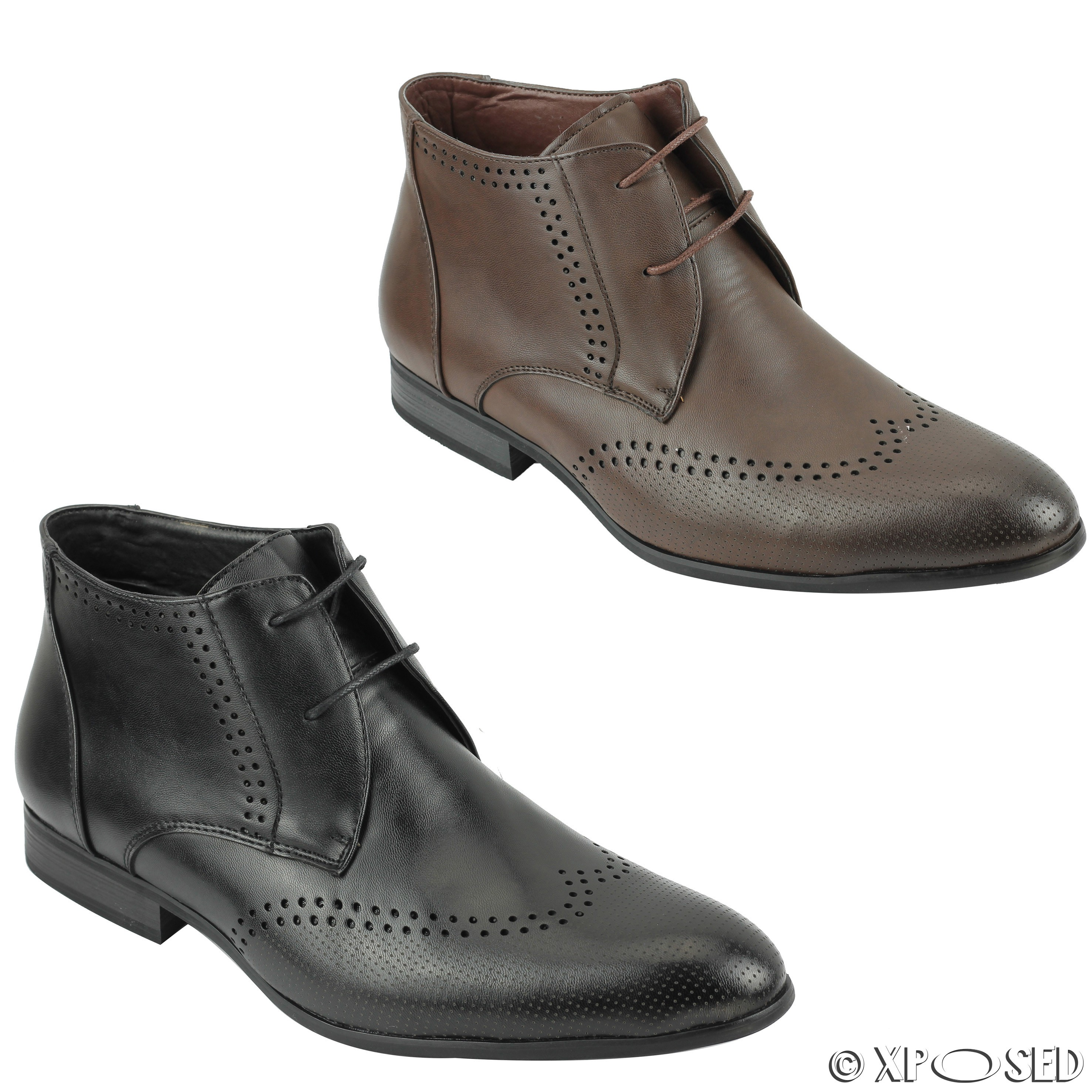 mens black brown leather ankle boots work formal lace