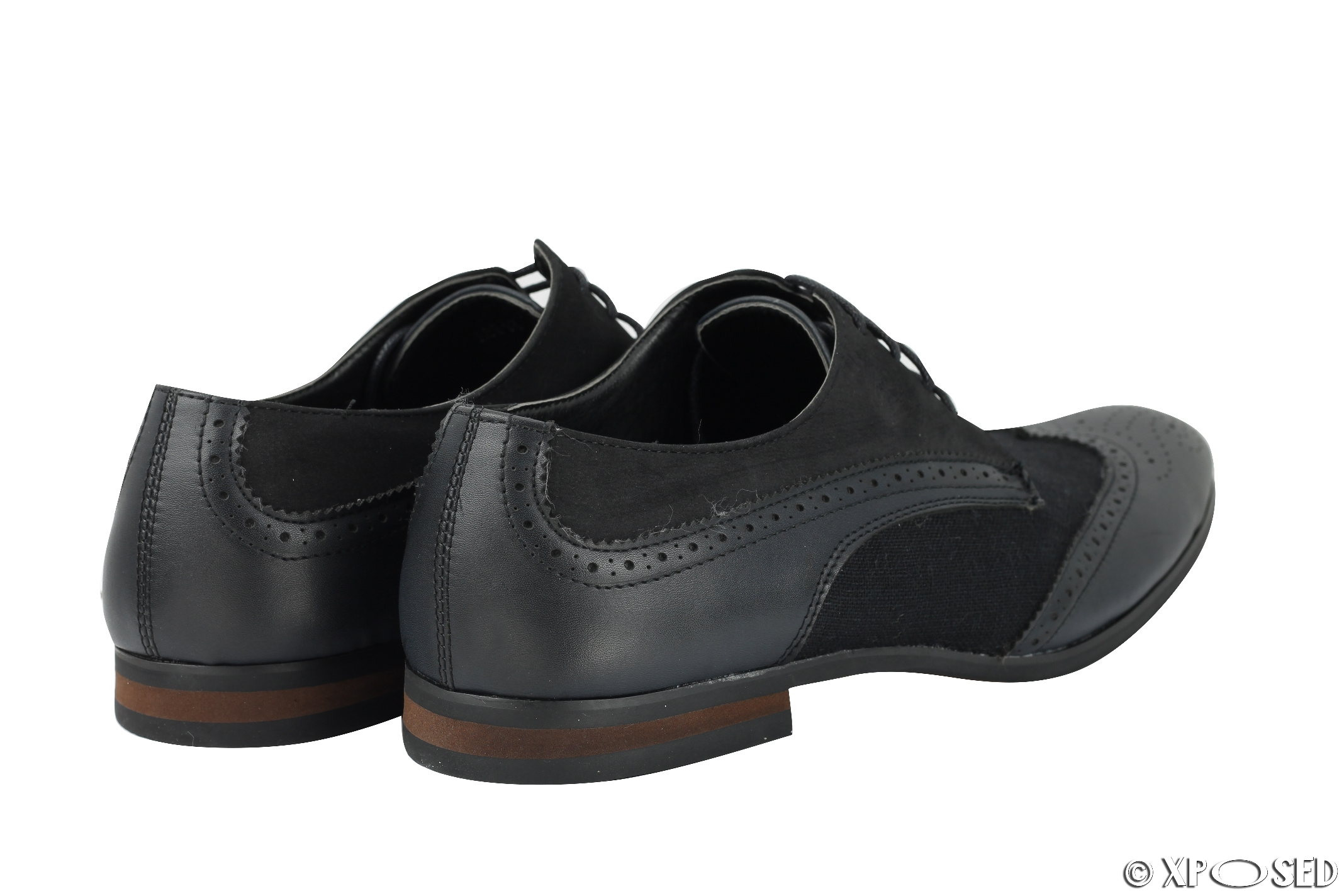 new mens shoes faux leather black navy formal brogue
