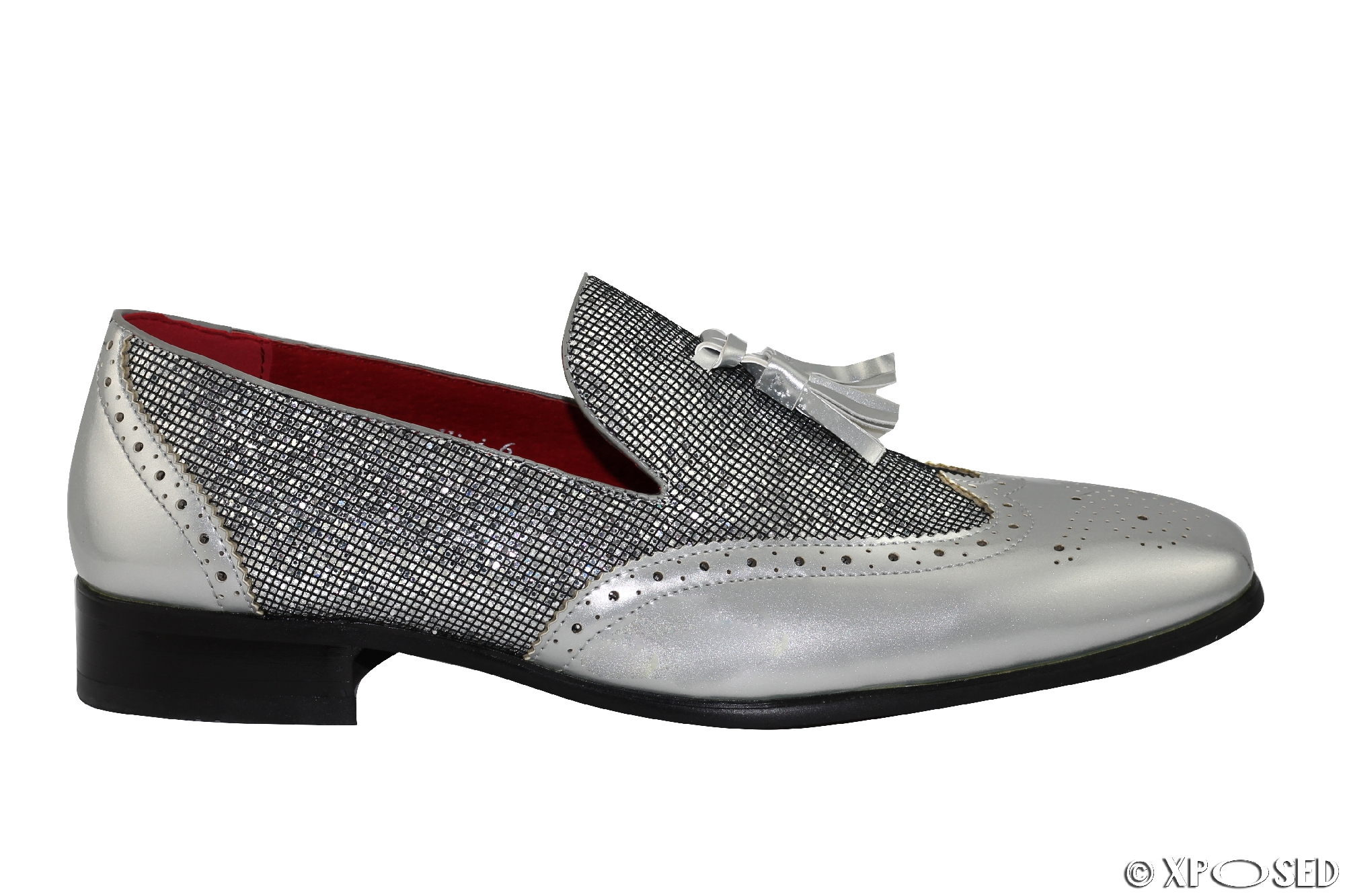 mens leather line patent shiny tassel loafers brogues