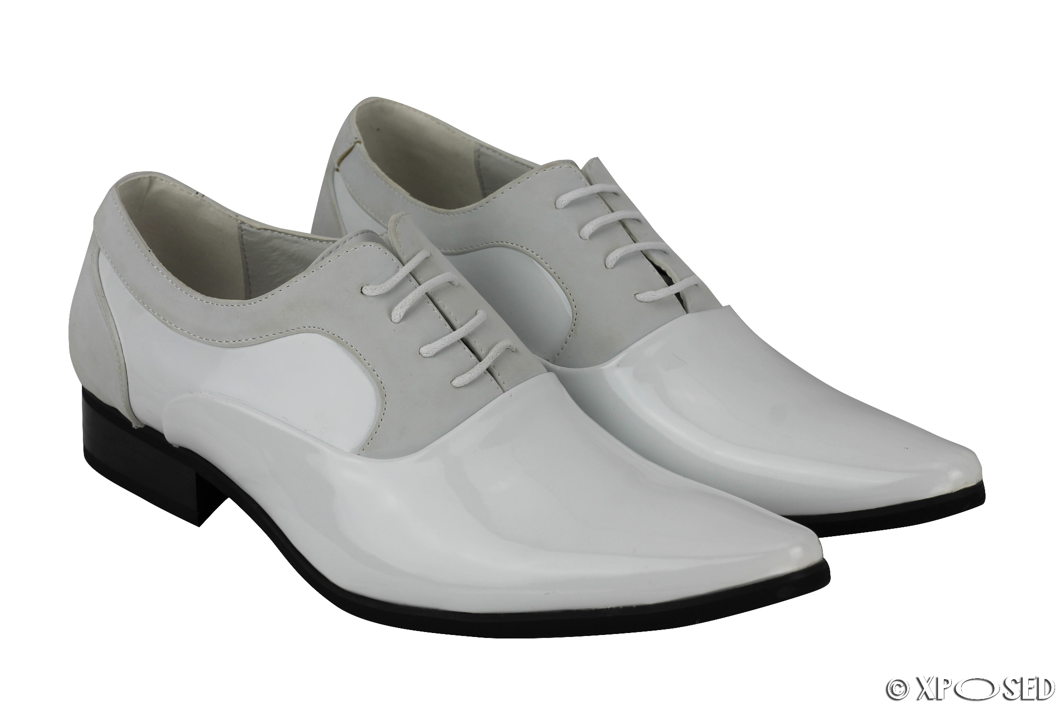 mens shiny patent leather line formal oxford lace up