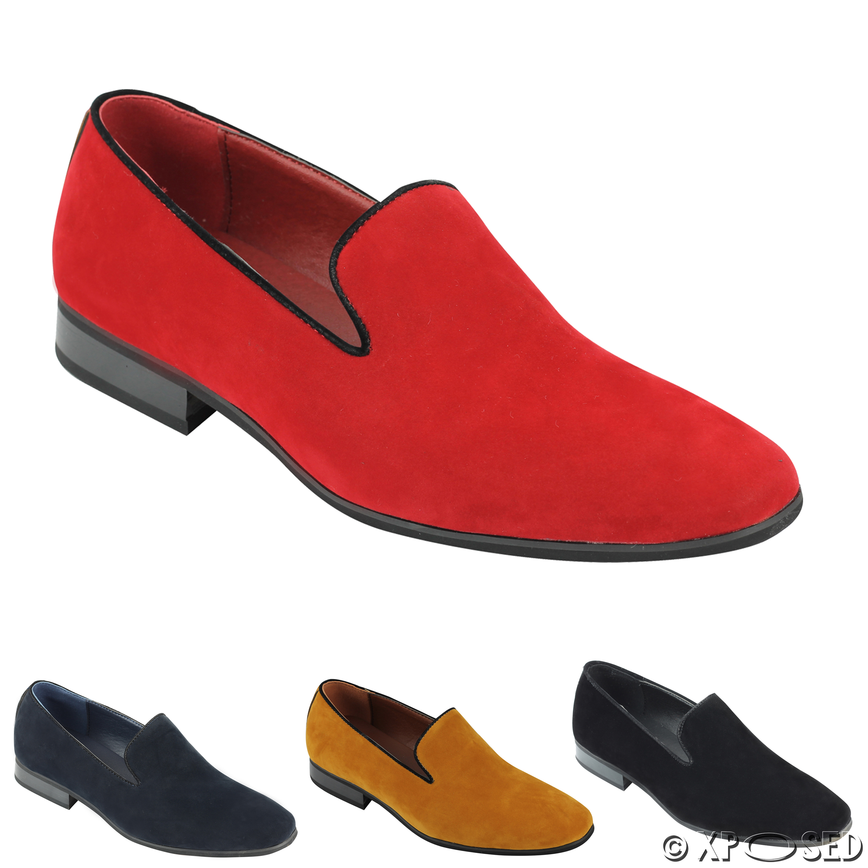 new mens suede loafers leather smart casual mod slip on