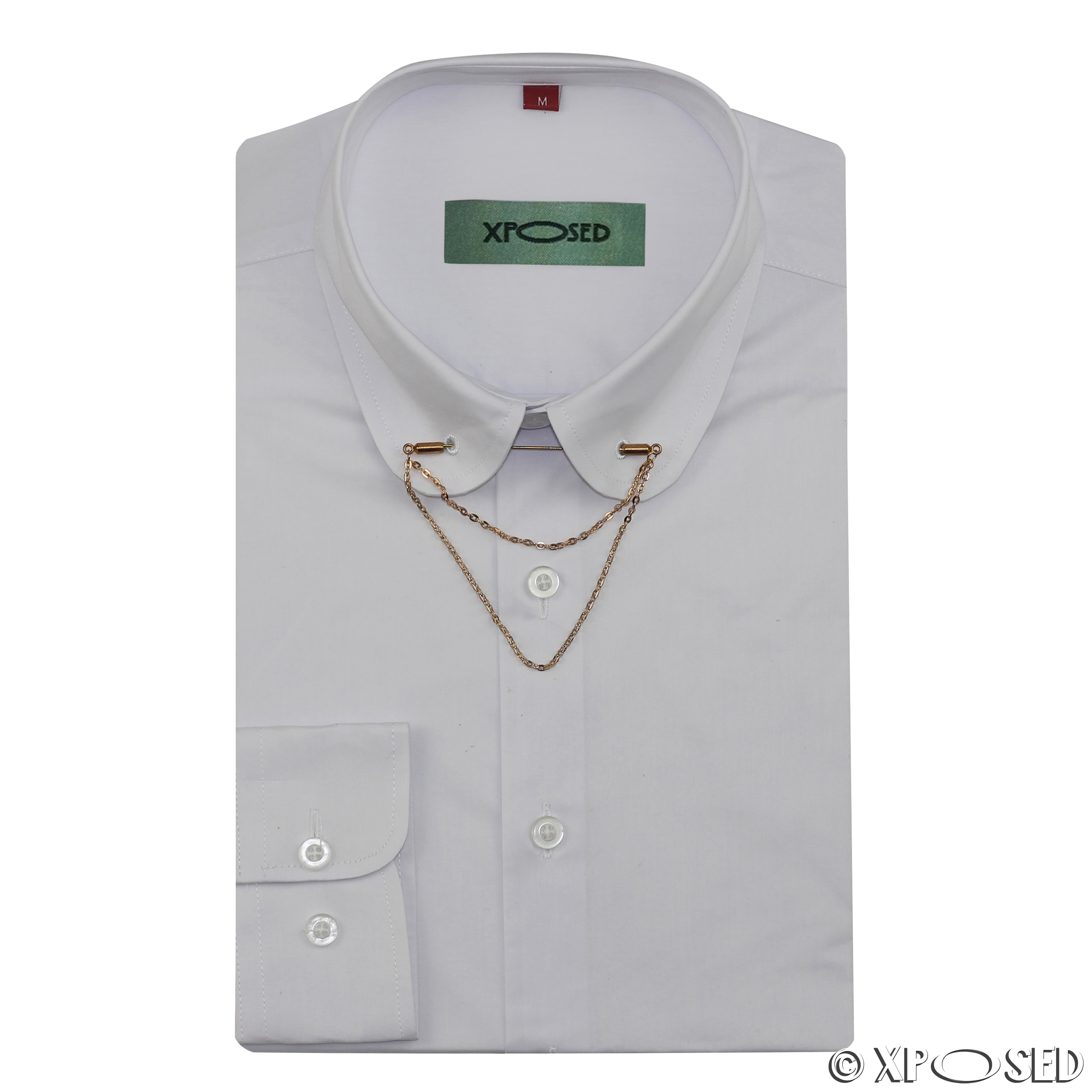 Mens shirt slim fit white black pin collar gold chain tie for White shirt with collar pin