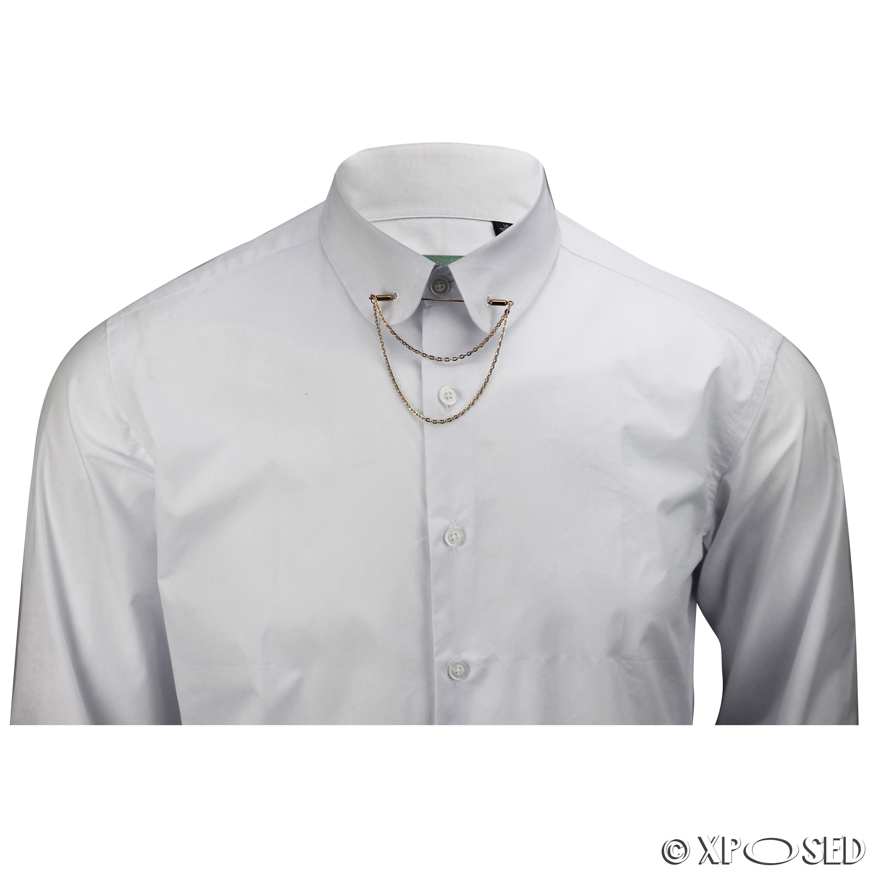 Mens shirt slim fit white black pin collar gold chain tie for Tie bar collar shirt
