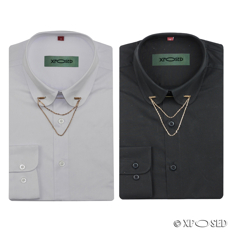 Mens Shirt Slim Fit White Black Pin Collar Gold Chain Tie