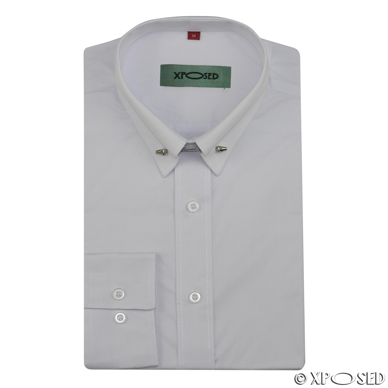 Mens Pin Collar Silver Tie Bar Slim Fit White Black