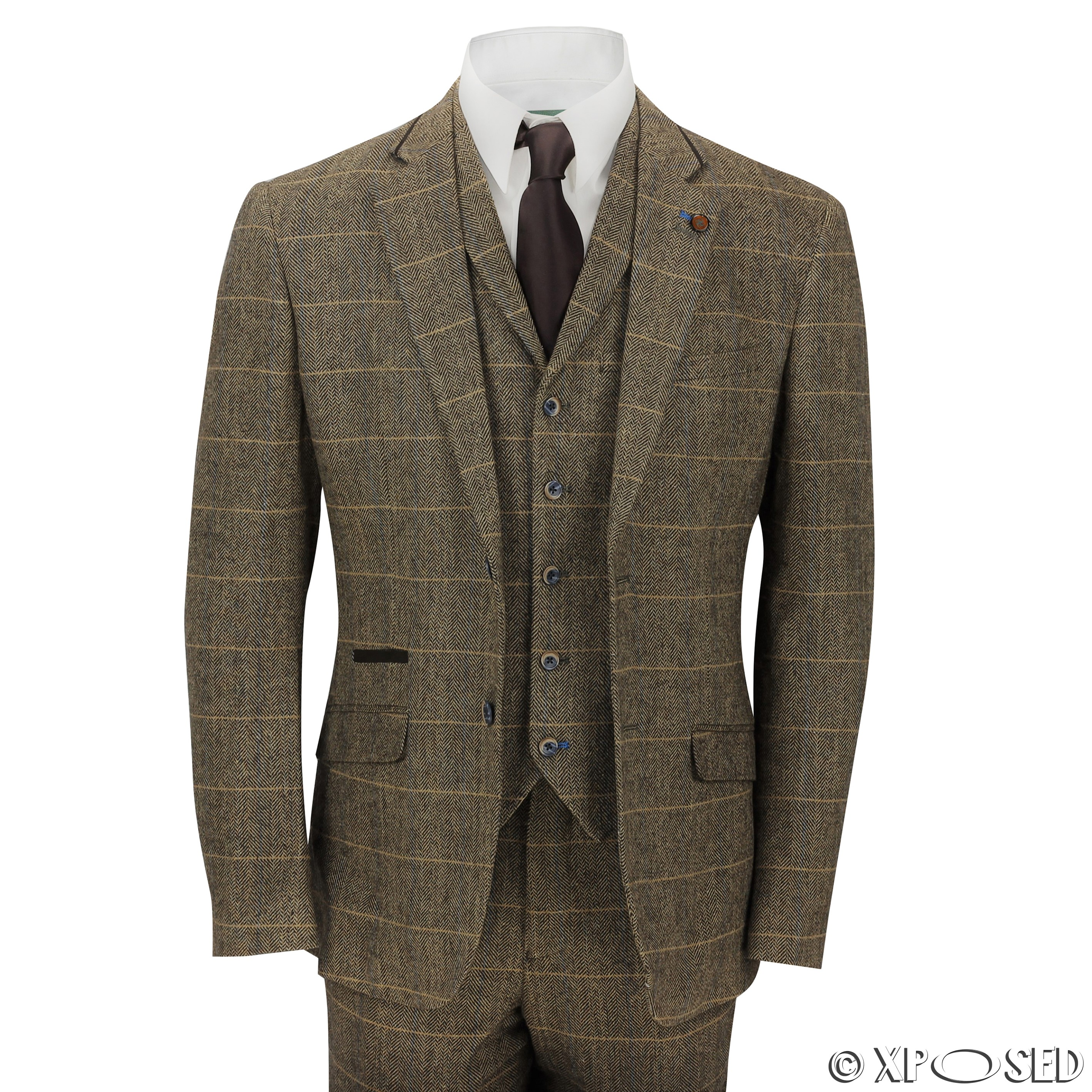 New Mens 3 Piece Tweed Suit Vintage Tan Brown Herringbone Check ...