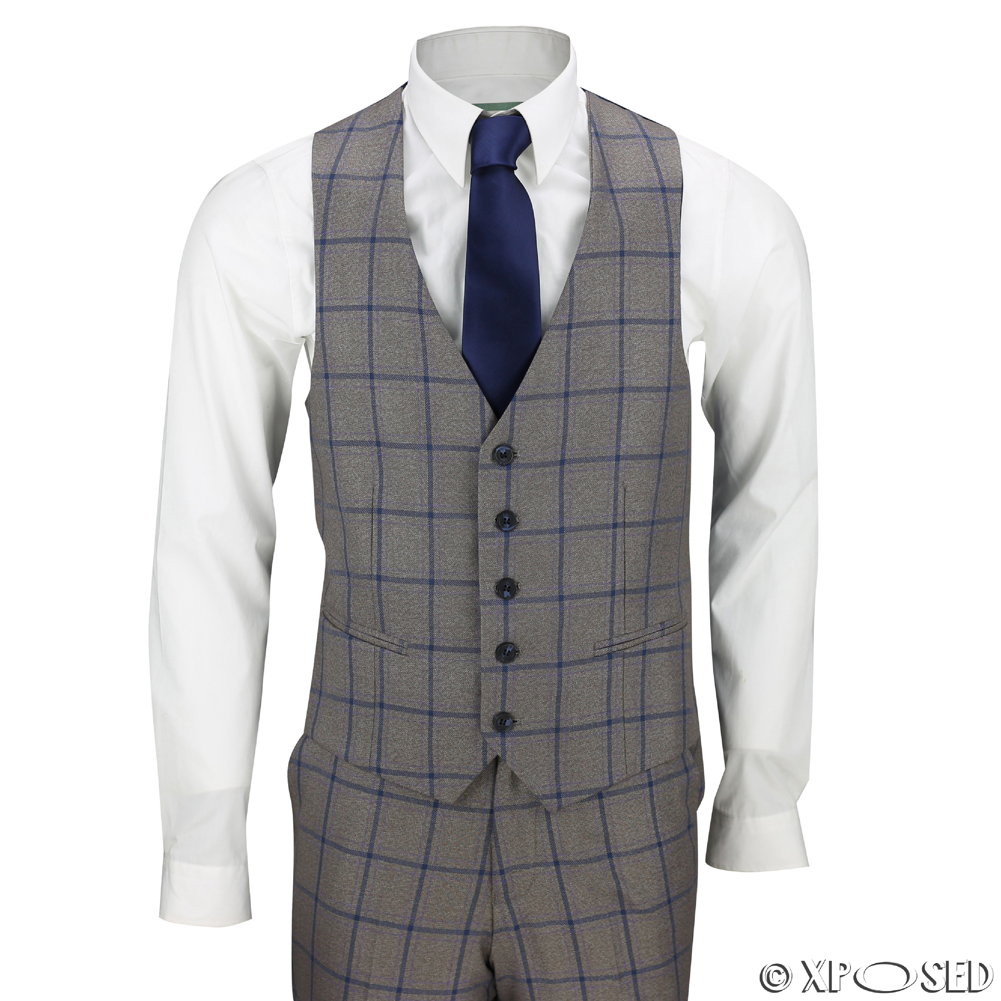 Mens 3 Piece Windowpane Blue Check Brown Vintage Tailored ...