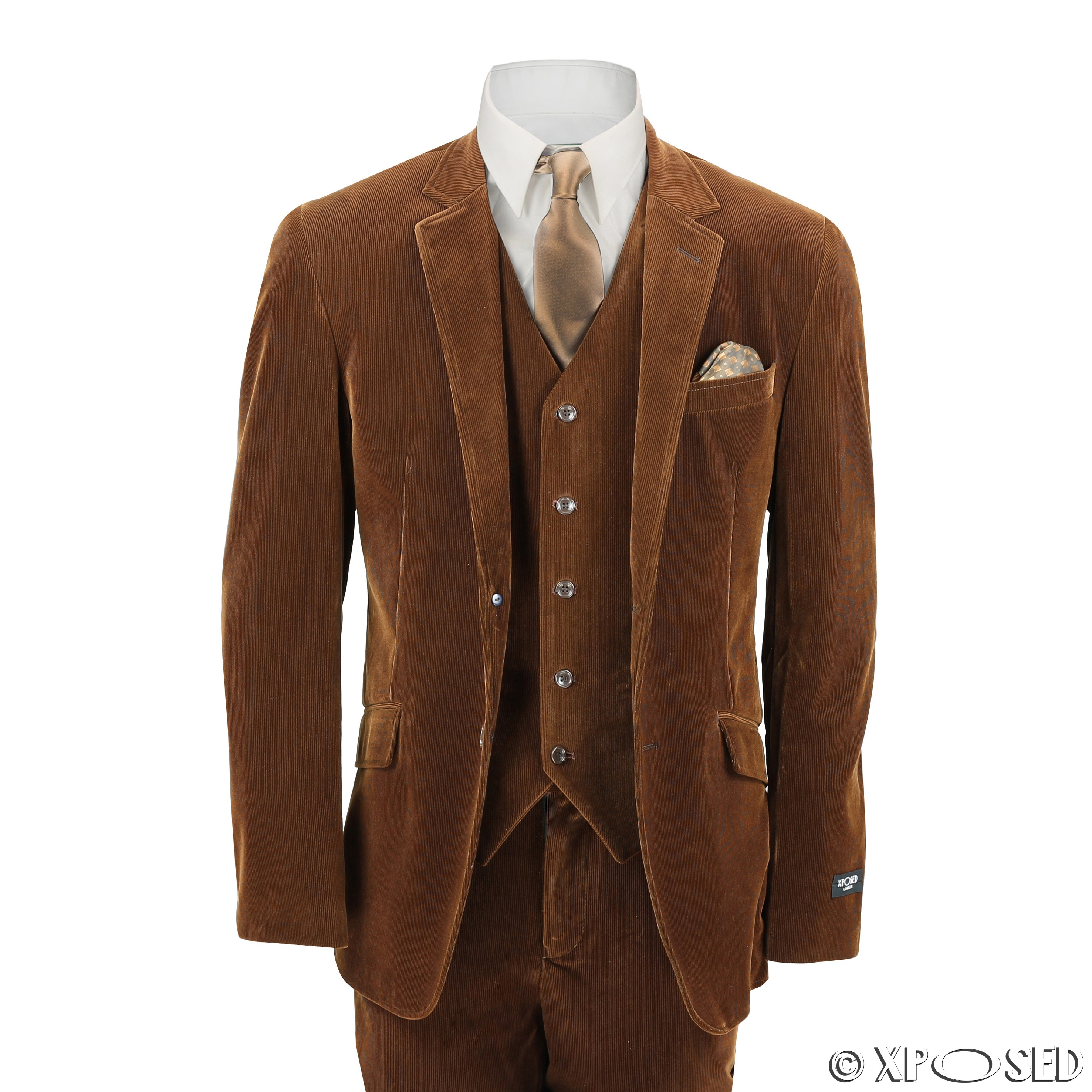 mens 3 piece suit rust brown vintage corduroy fitted blazer waistcoat trousers ebay. Black Bedroom Furniture Sets. Home Design Ideas