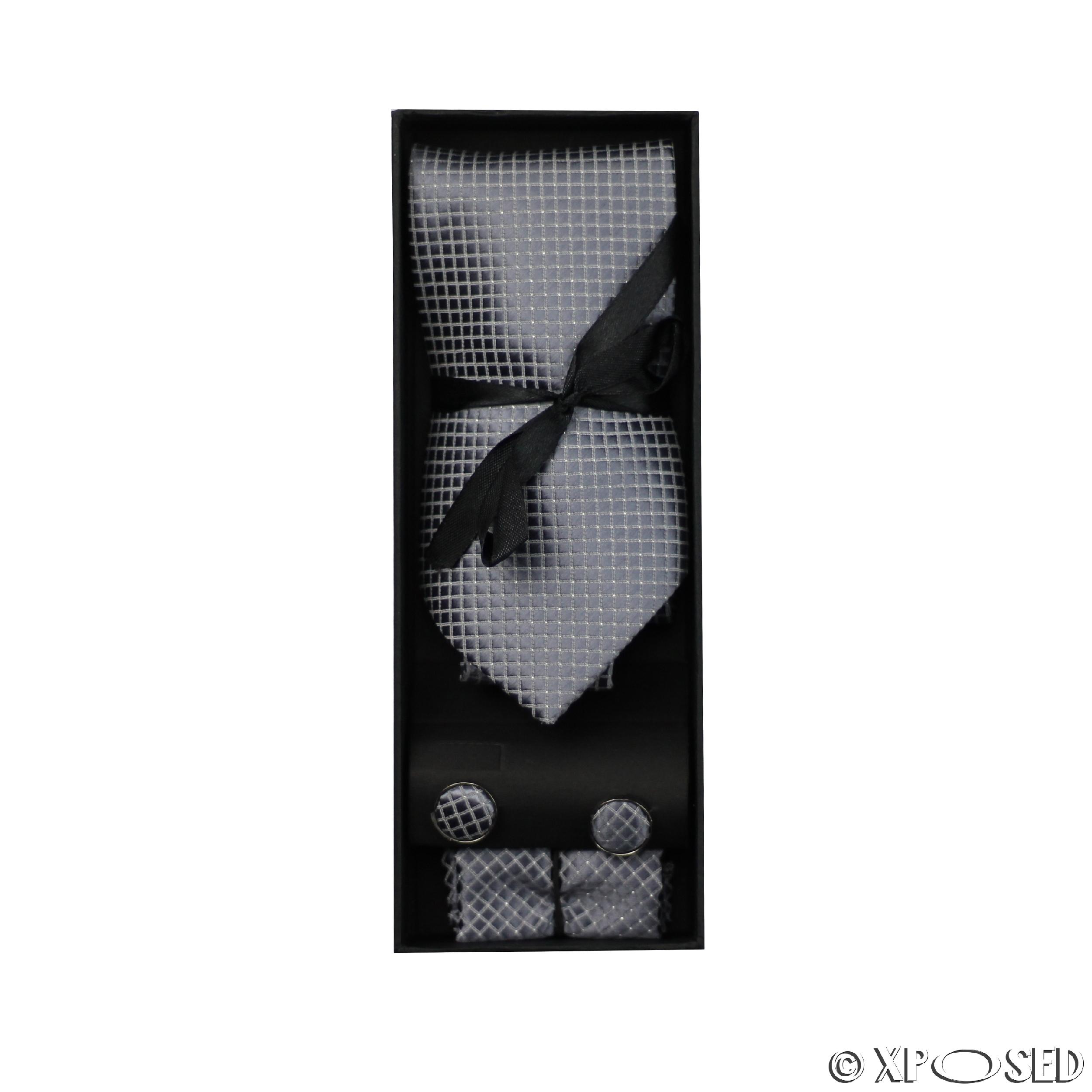 New Mens 3 Piece Tie Set Gift Box Cufflinks Pocket Square Formal ...