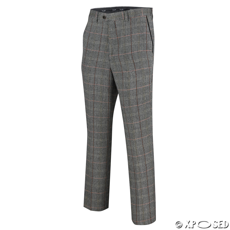 Mens Herringbone Check Trouser Vintage Tweed Slim Fit Smart Formal Pant Tan Grey | EBay