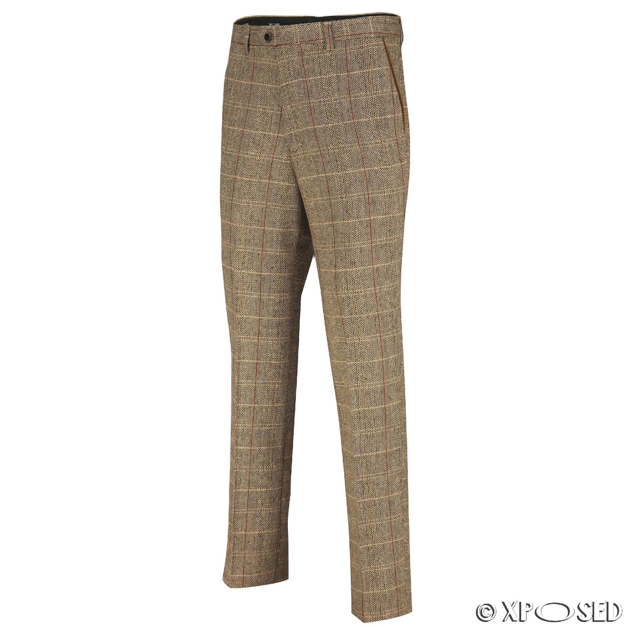 Mens Tweed Trousers Vintage Herringbone Checks Velvet Slim Fit Formal Suit Pants | EBay
