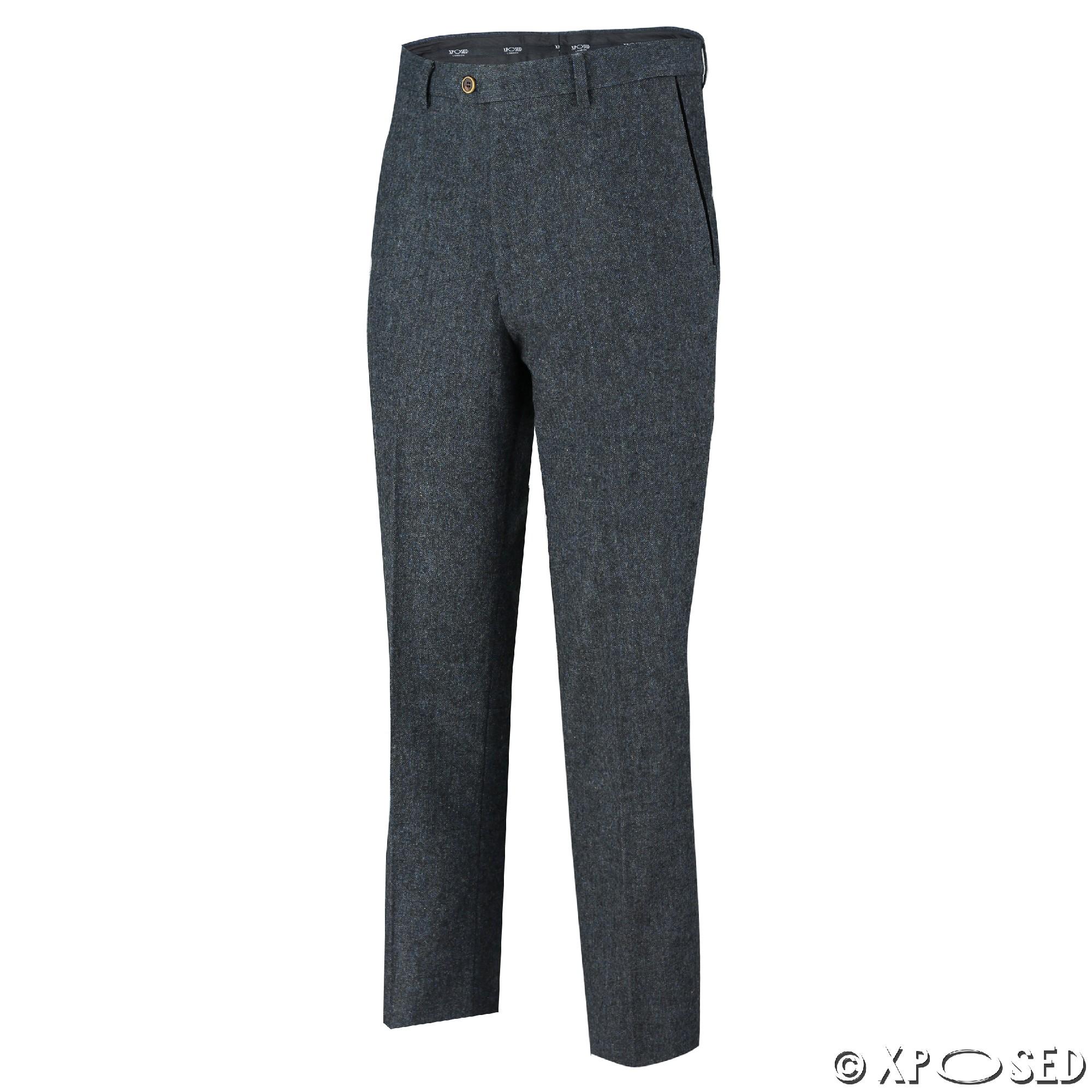 Mens Tweed Trousers Vintage Herringbone Checks Velvet Slim Fit Formal Suit Pants   EBay