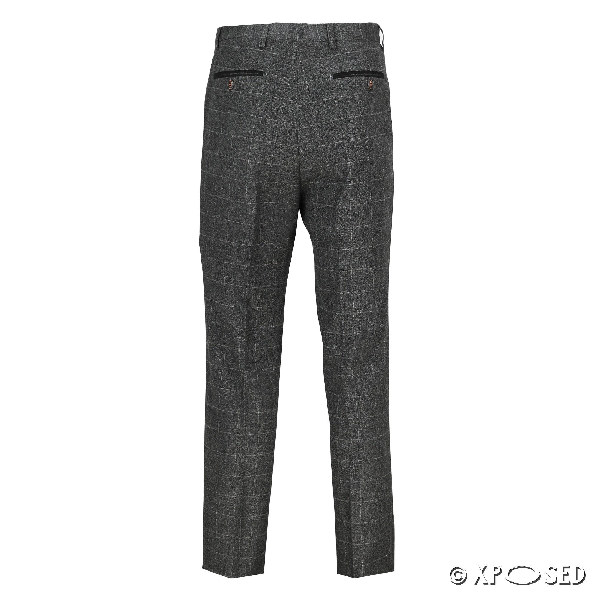 Mens Vintage Large Check Tweed Herringbone Slim Fit Trousers Smart Formal Pant | EBay