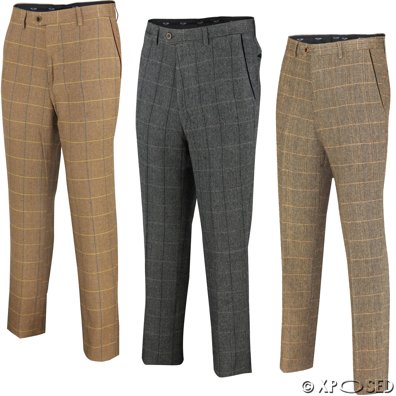 Mens Tweed Check Trouser 1920 Vintage Herringbone Formal Slim Fit Grey Tan Brown