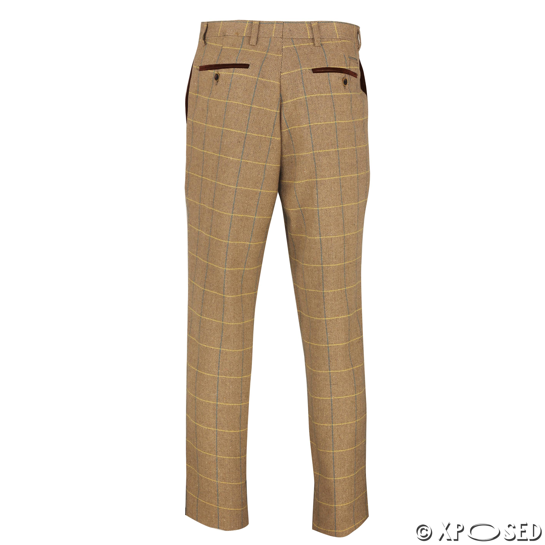 Mens Tweed Trousers Vintage Herringbone Checks Velvet Slim Fit Formal Suit Pants