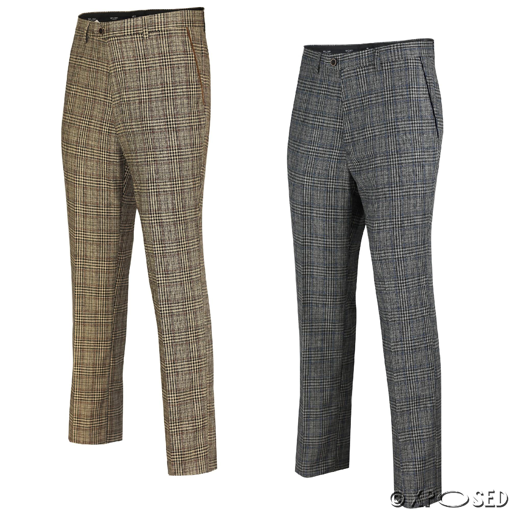 ... Trousers-Vintage-Herringbone-Checks-Velvet-Slim-Fit-Formal-Suit-Pants