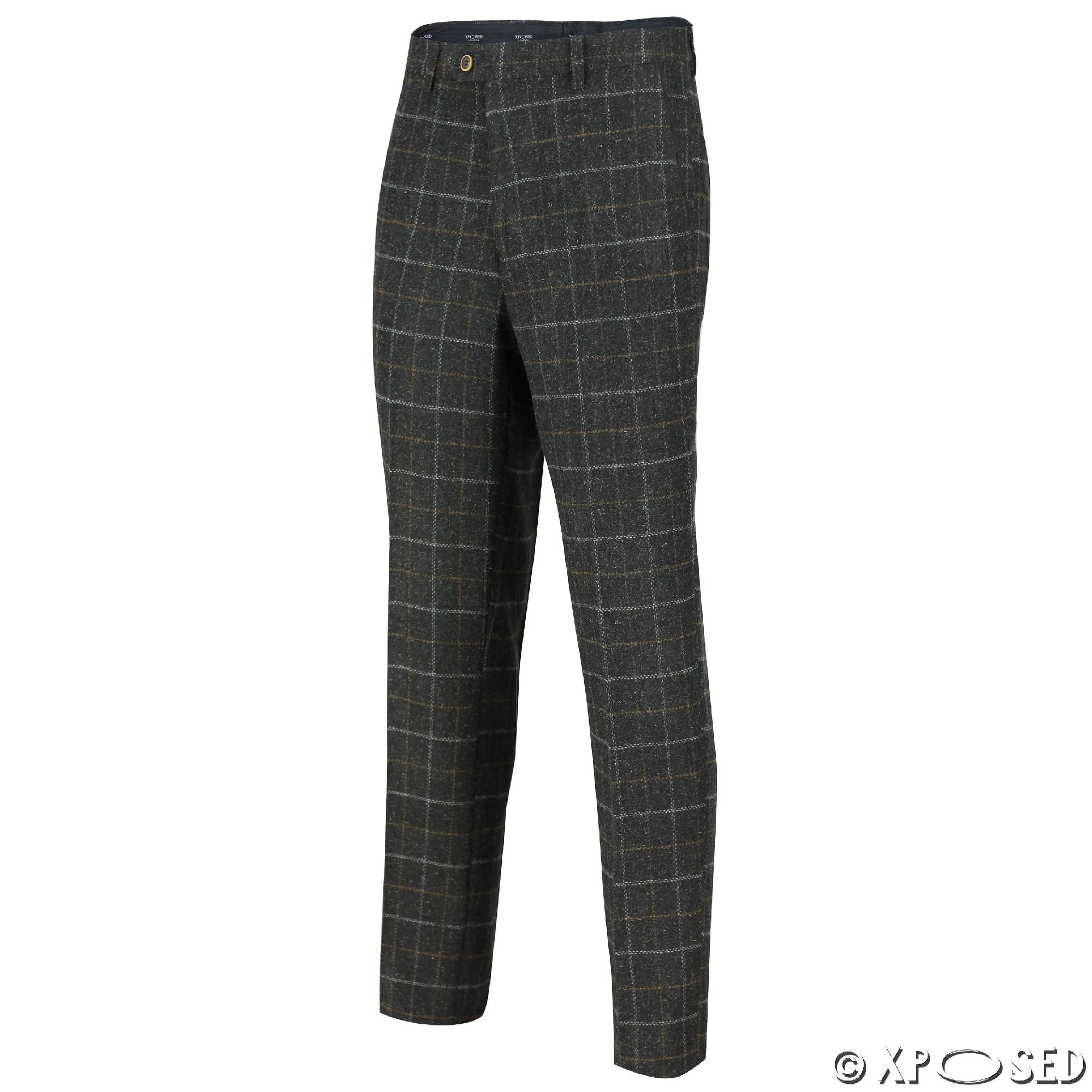 Mens Tweed Trousers Vintage Herringbone Checks Slim Fit Grey Brown Green Pants | EBay