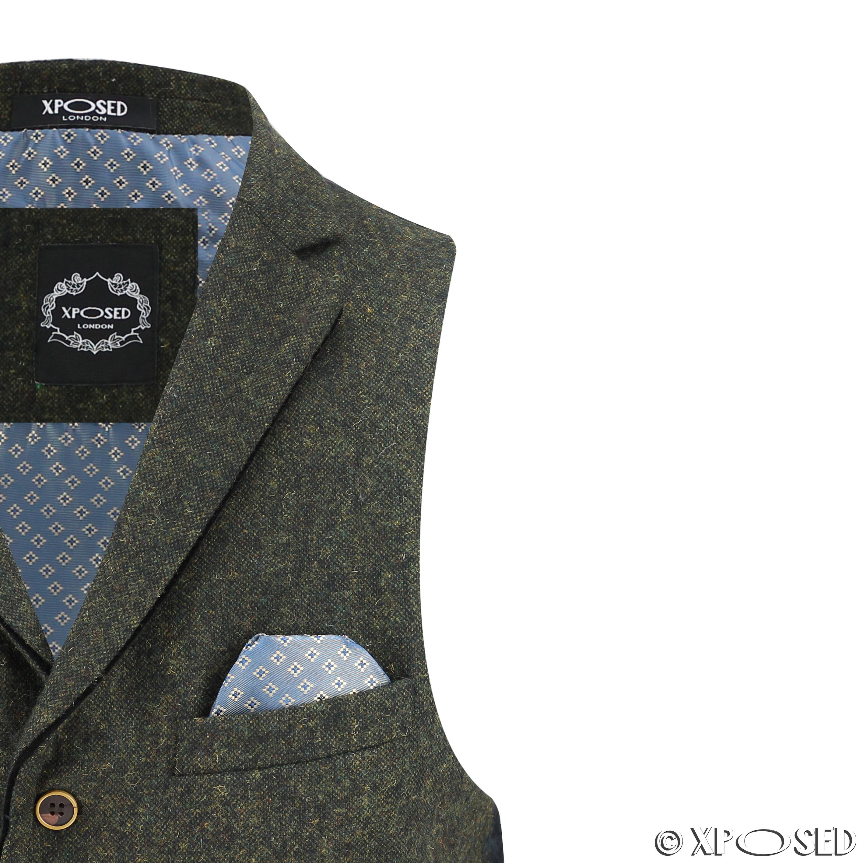 110b23988e6 Details about Mens Waistcoat Wool Mix Herringbone Tweed Check Velvet Collar  Smart Formal Vest