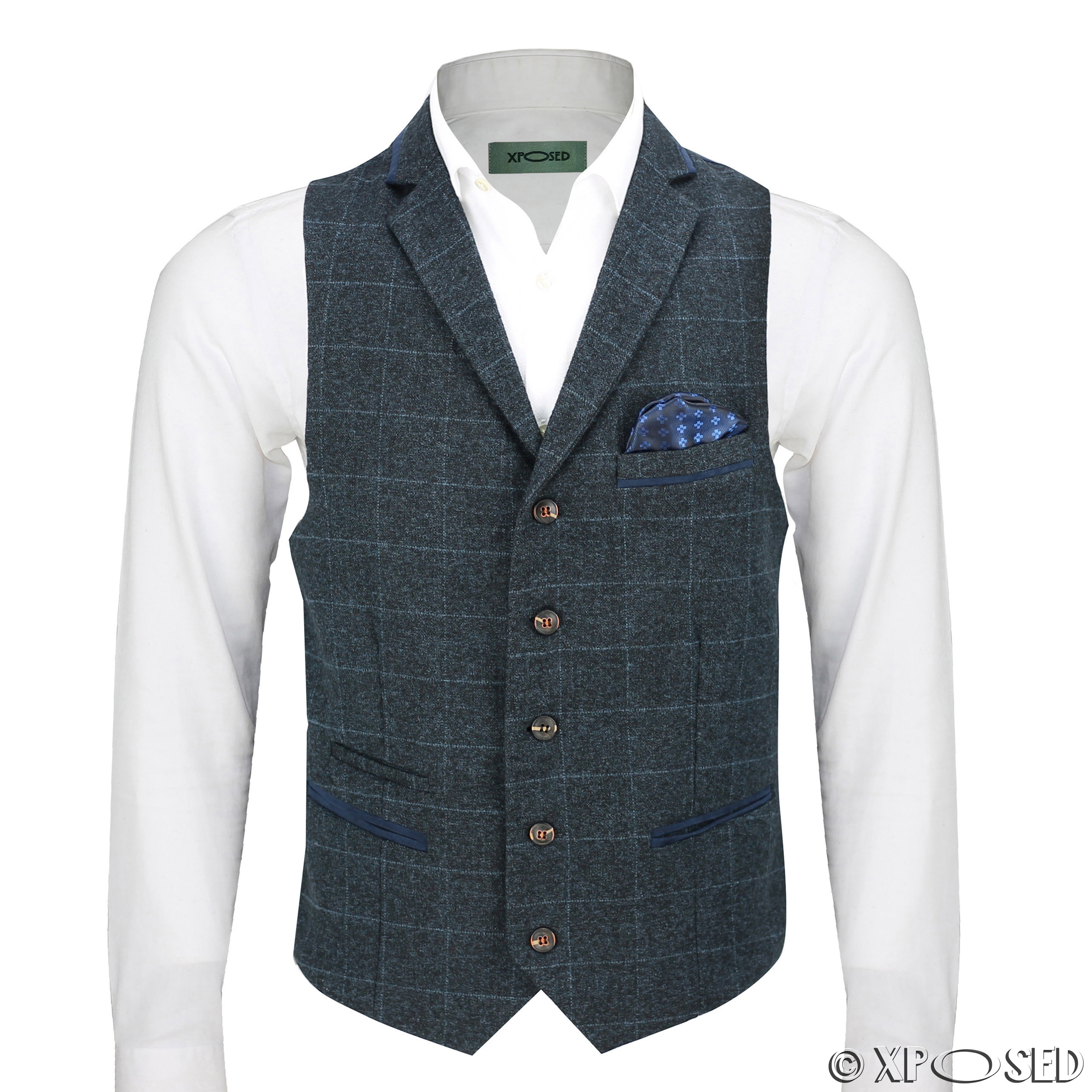 A waistcoat has a full vertical opening in the front, which fastens with buttons or snaps. Both single-breasted and double-breasted waistcoats exist, regardless of the formality of dress, but single-breasted ones are more common. In a three piece suit, the cloth used matches the jacket and trousers.