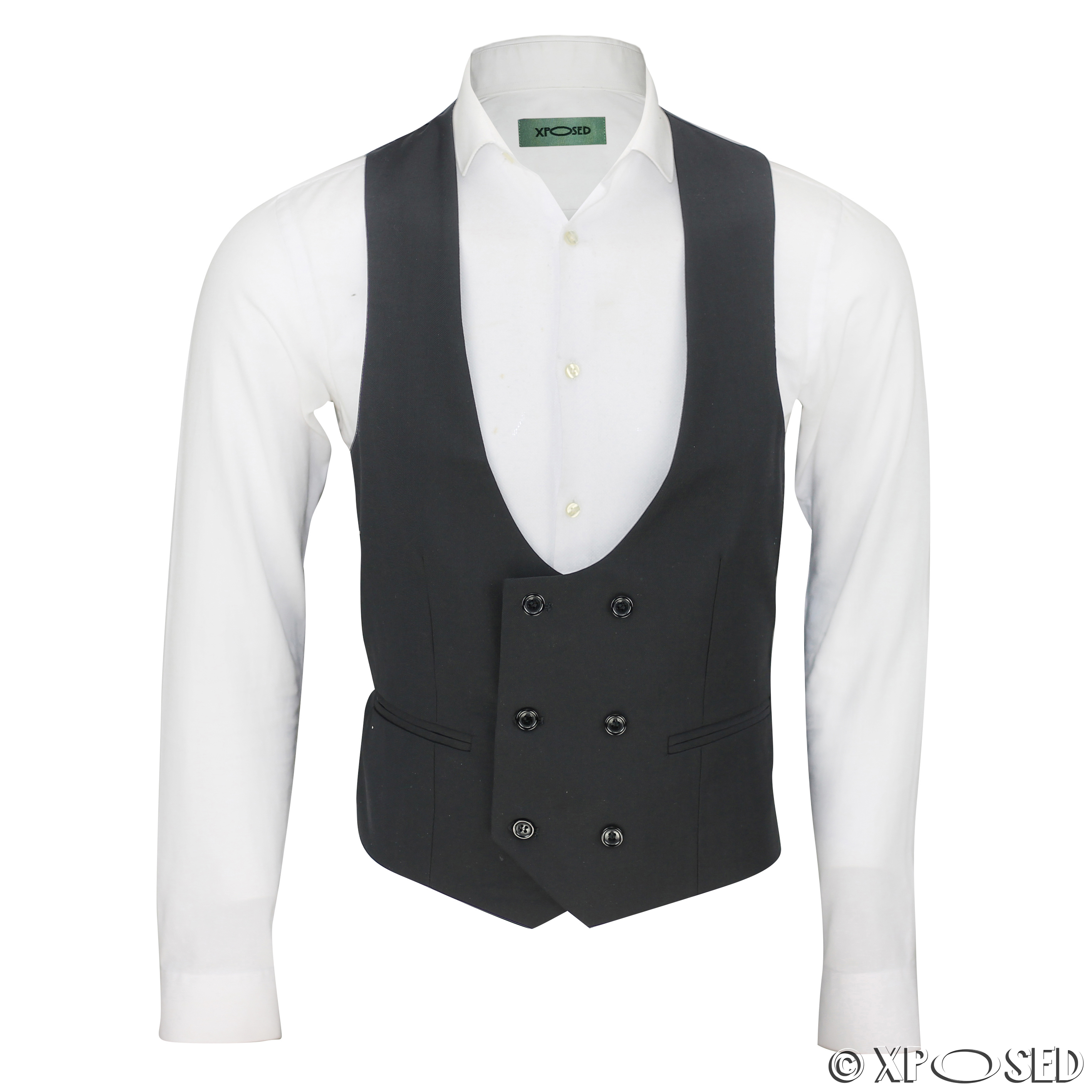 Certainly what this handsome white tuxedo vest lacks in vivacity, it makes up for in the starkness of its tailoring. Beginning with its fashionably low cut front, it builds an aesthetic of intrigue accented by three satin covered buttons and two satin besom pockets, creating a look that's sharp in its sophistication.