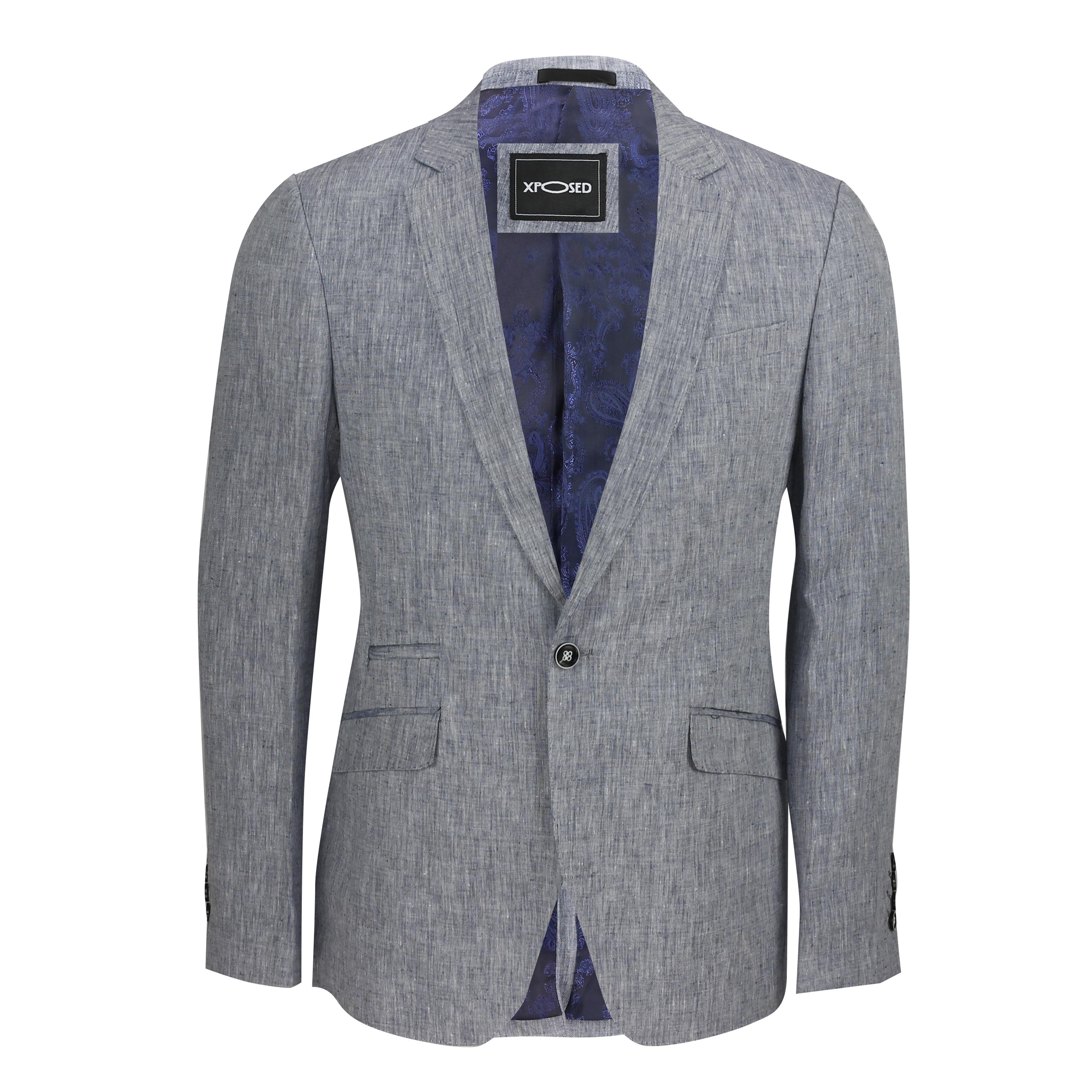 Mens Vintage Cotton Linen Blend Slim Fit Blazer Smart