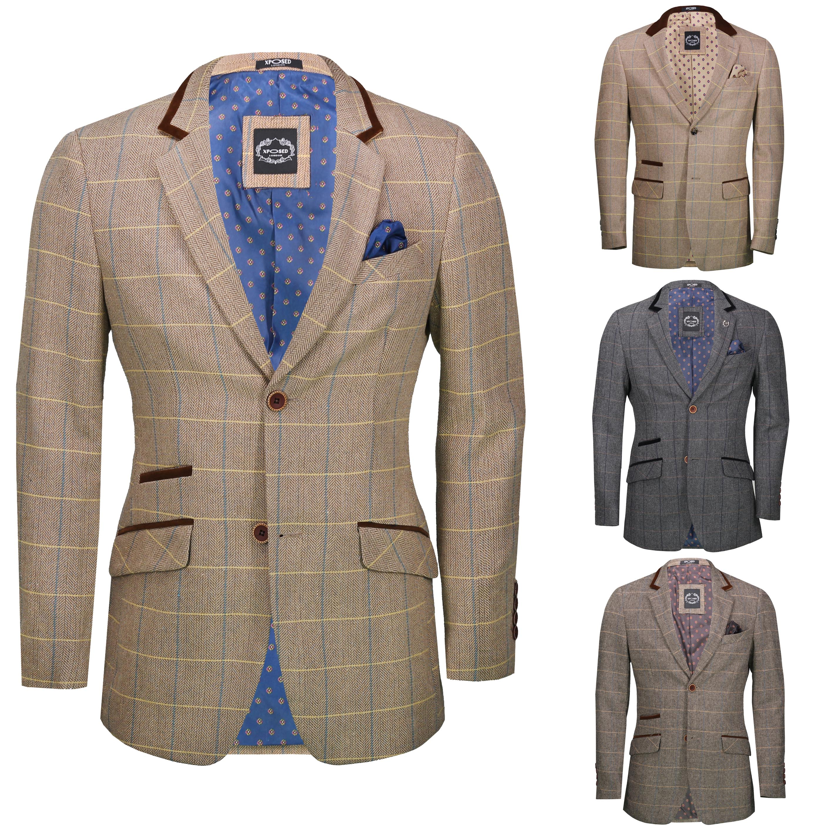 bedbda740ee9 Details about Mens Vintage Tweed Herringbone Check Blazer Brown Grey Velvet  Collar Elbow Patch
