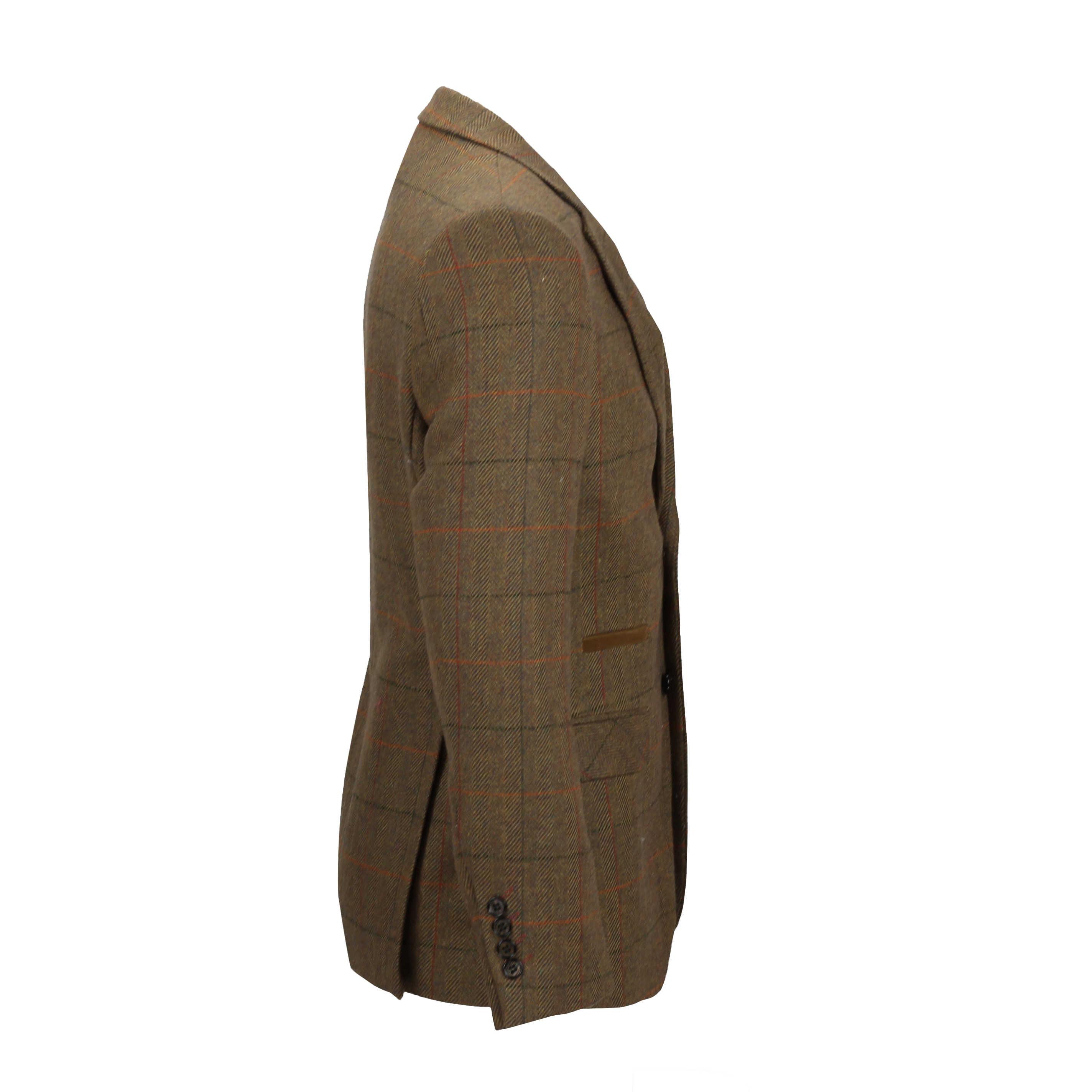 Mens-3-piezas-tan-comprueba-Herringbone-Traje-Blazer-Chaleco-Pantalones-Se-Venden-Por-Separado miniatura 7