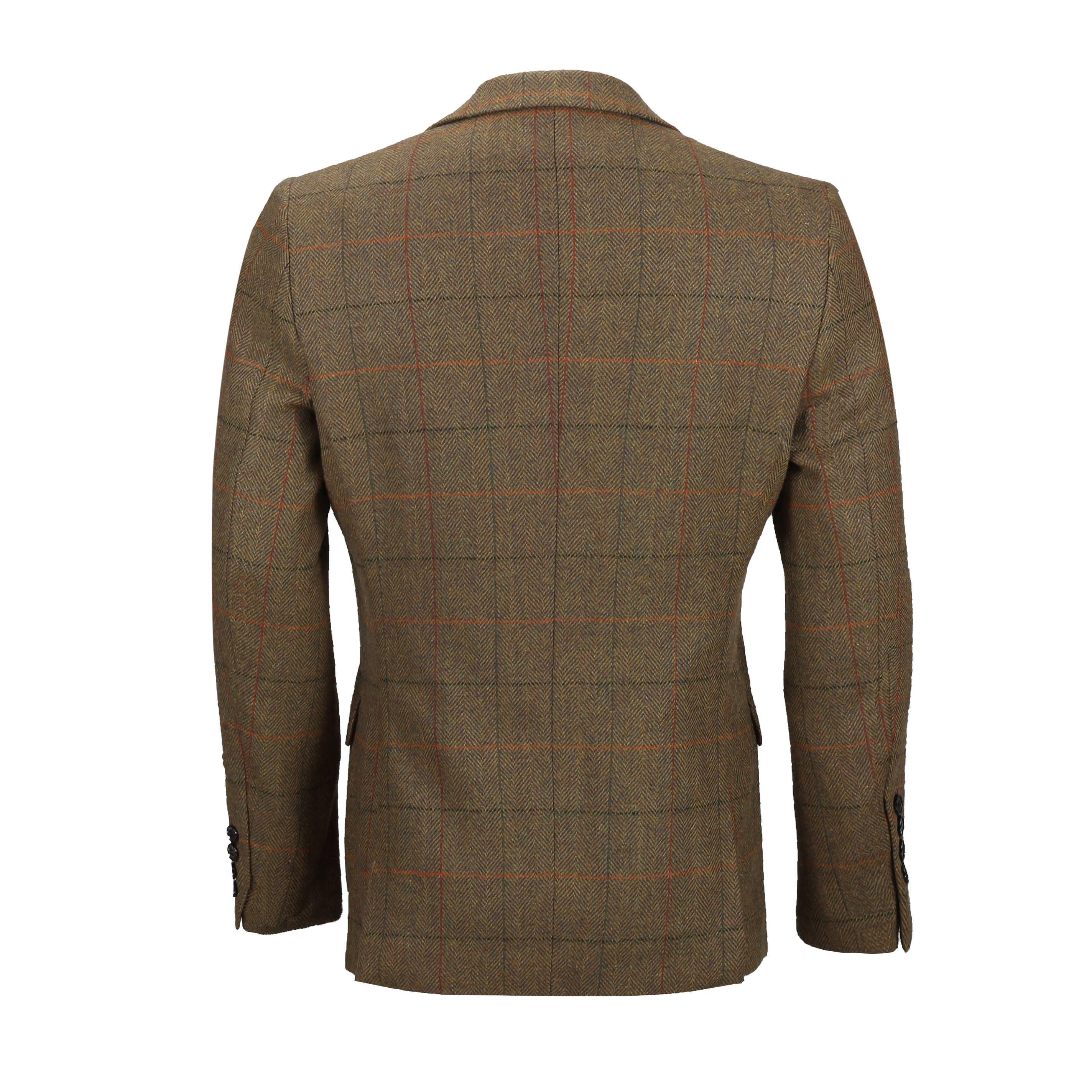 Mens-3-piezas-tan-comprueba-Herringbone-Traje-Blazer-Chaleco-Pantalones-Se-Venden-Por-Separado miniatura 8