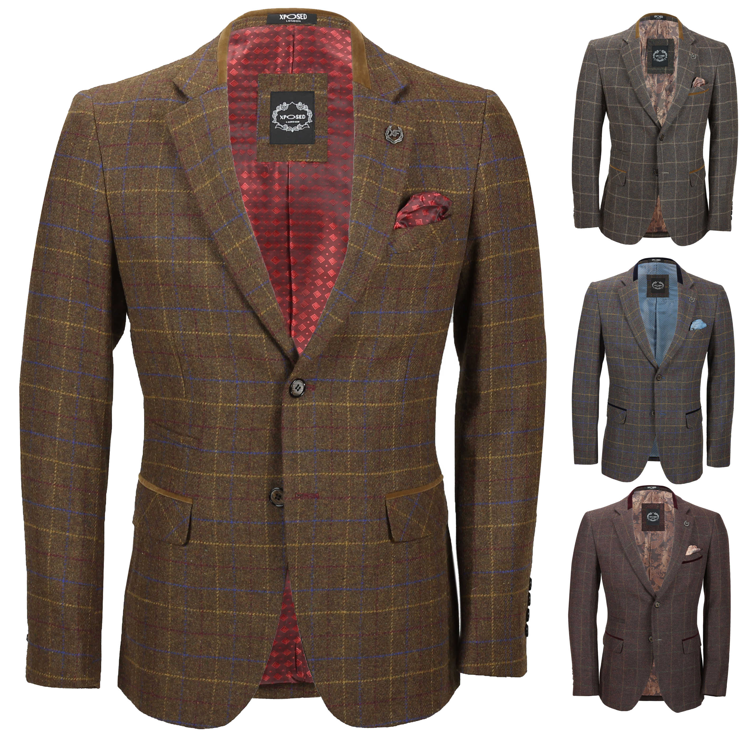 Heren: kleding Kleding en accessoires Mens Light Brown Herringbone Tweed Vintage Slim Fit Blazer Smart Casual Jacket