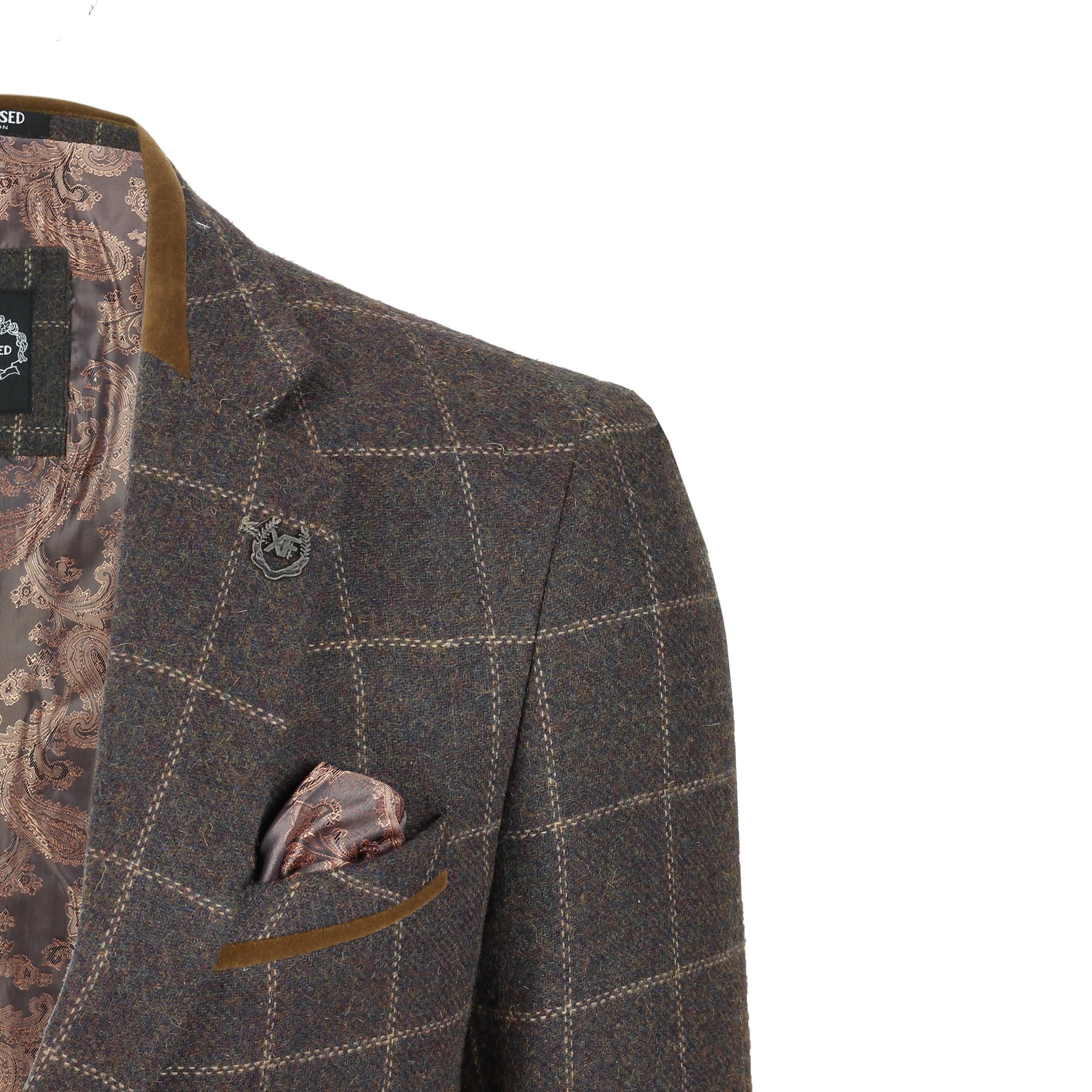 Para-Hombre-Tweed-Marron-Tierra-3-piezas-traje-de-verificacion-se-vende-por-separado-Blazer-Chaleco miniatura 6