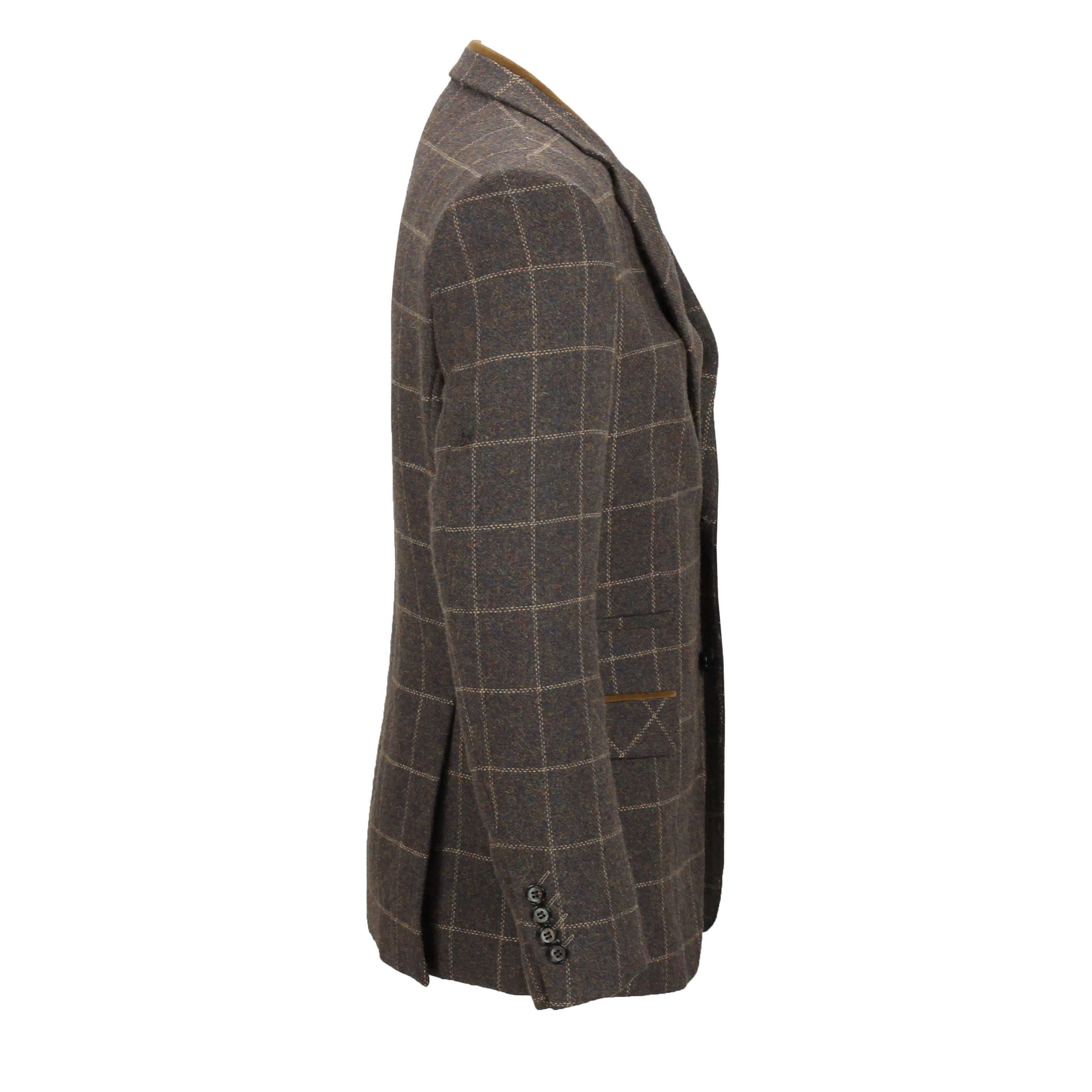 Para-Hombre-Tweed-Marron-Tierra-3-piezas-traje-de-verificacion-se-vende-por-separado-Blazer-Chaleco miniatura 7