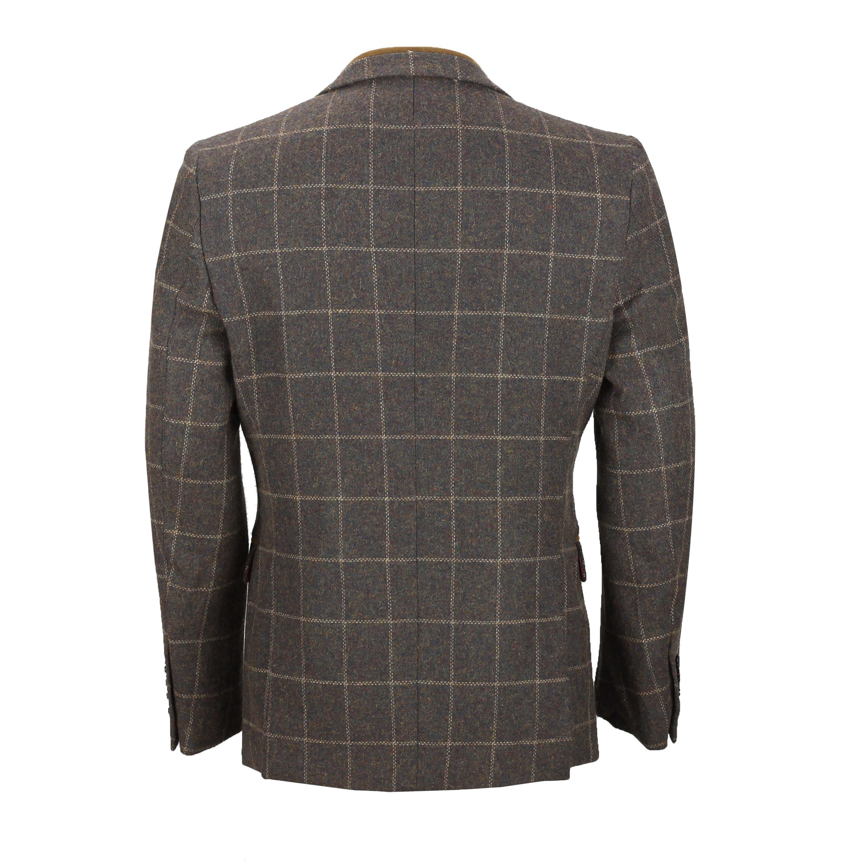 Para-Hombre-Tweed-Marron-Tierra-3-piezas-traje-de-verificacion-se-vende-por-separado-Blazer-Chaleco miniatura 8