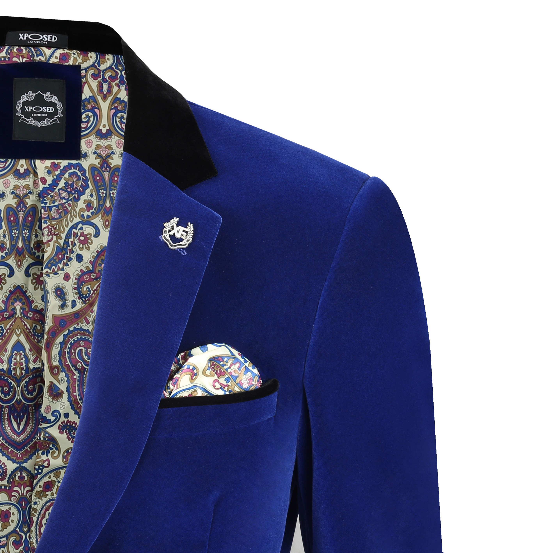 Heren delige 3 broekapart blauwe fluweel verkrijgbaar pak vintage blazer vest kXilOPZuTw