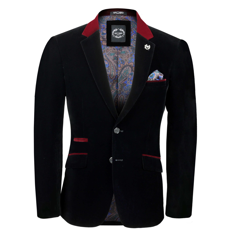 mens soft velvet blazer slim fit vintage casual smart. Black Bedroom Furniture Sets. Home Design Ideas