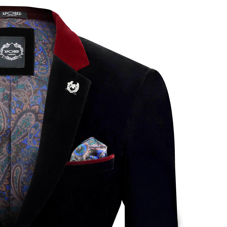 Para-hombre-negro-terciopelo-vintage-3-Piezas-Traje-Blazer-Chaleco-del-pantalon-se-vende-por miniatura 3