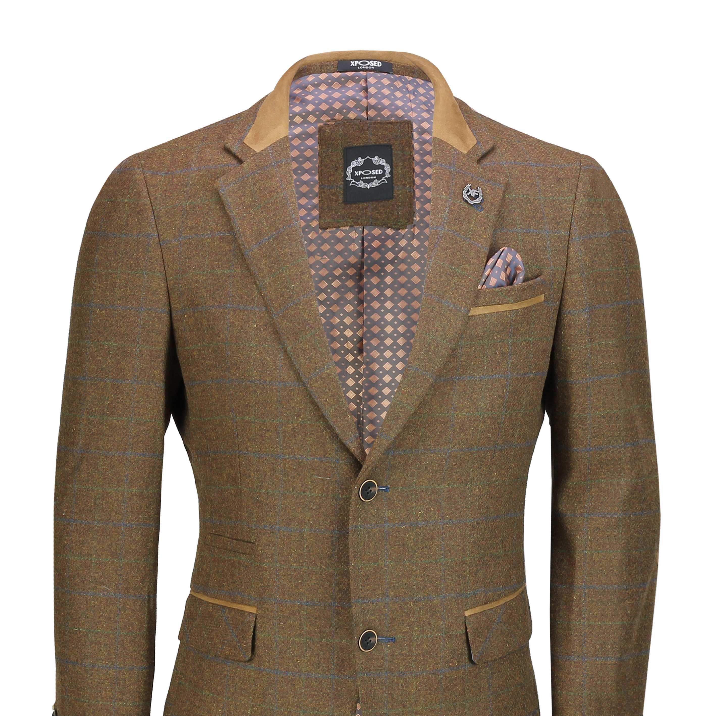 Hombres-Tweed-cheque-3-Piezas-Traje-Chaqueta-Pantalon-Chaleco-se-vende-como-medida-separa miniatura 3