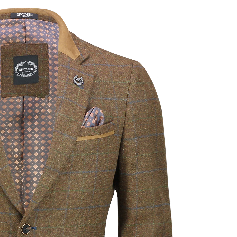Hombres-Tweed-cheque-3-Piezas-Traje-Chaqueta-Pantalon-Chaleco-se-vende-como-medida-separa miniatura 4