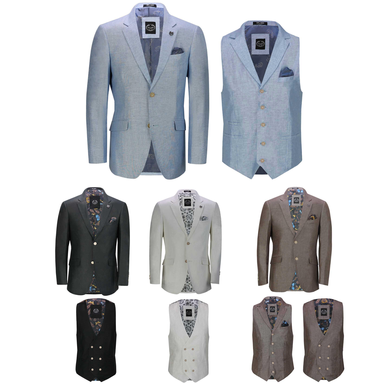 Mens Linen Blazer Cotton Blend Retro Vintage Smart Casual Jacket Waistcoat