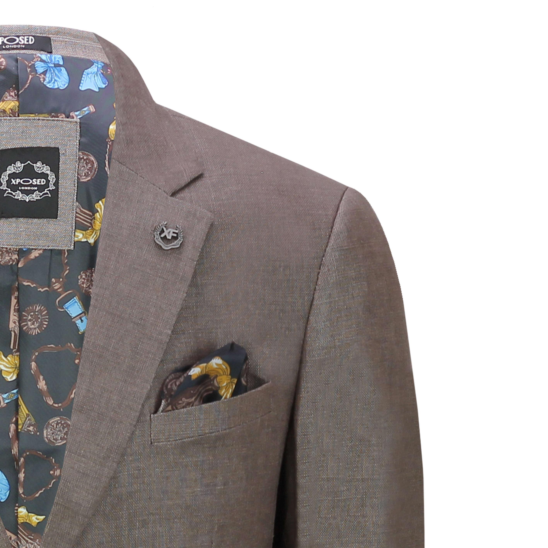 Mens Linen Blazer Cotton Blend Retro Vintage Smart Casual