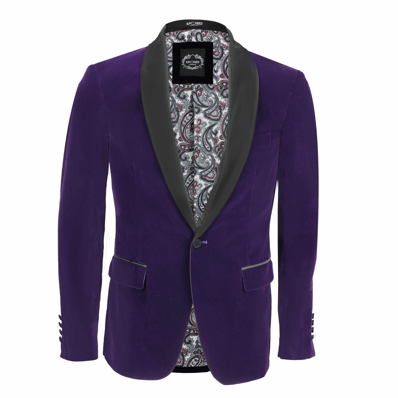 Mens Velvet Tuxedo Suit Jacket Black Shawl Lapel Blazer