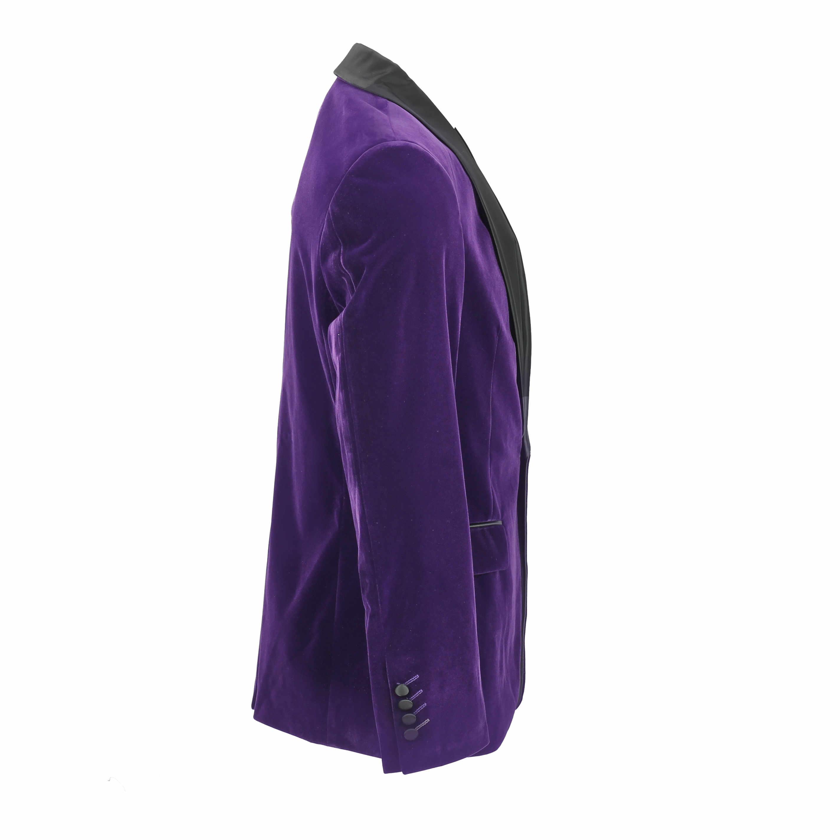 Mens-Purple-Velvet-Vintage-3-Piece-Suit-Tuxedo-Blazer-Coat-Waistcoat-Trouser thumbnail 8