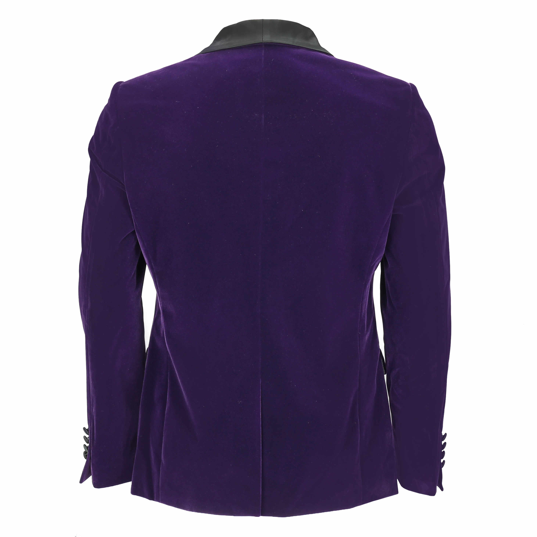Mens-Purple-Velvet-Vintage-3-Piece-Suit-Tuxedo-Blazer-Coat-Waistcoat-Trouser thumbnail 9