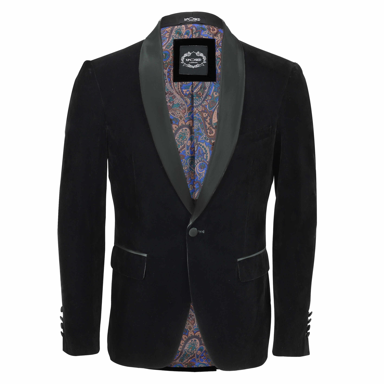 mens black velvet vintage 3 piece suit tuxedo blazer coat